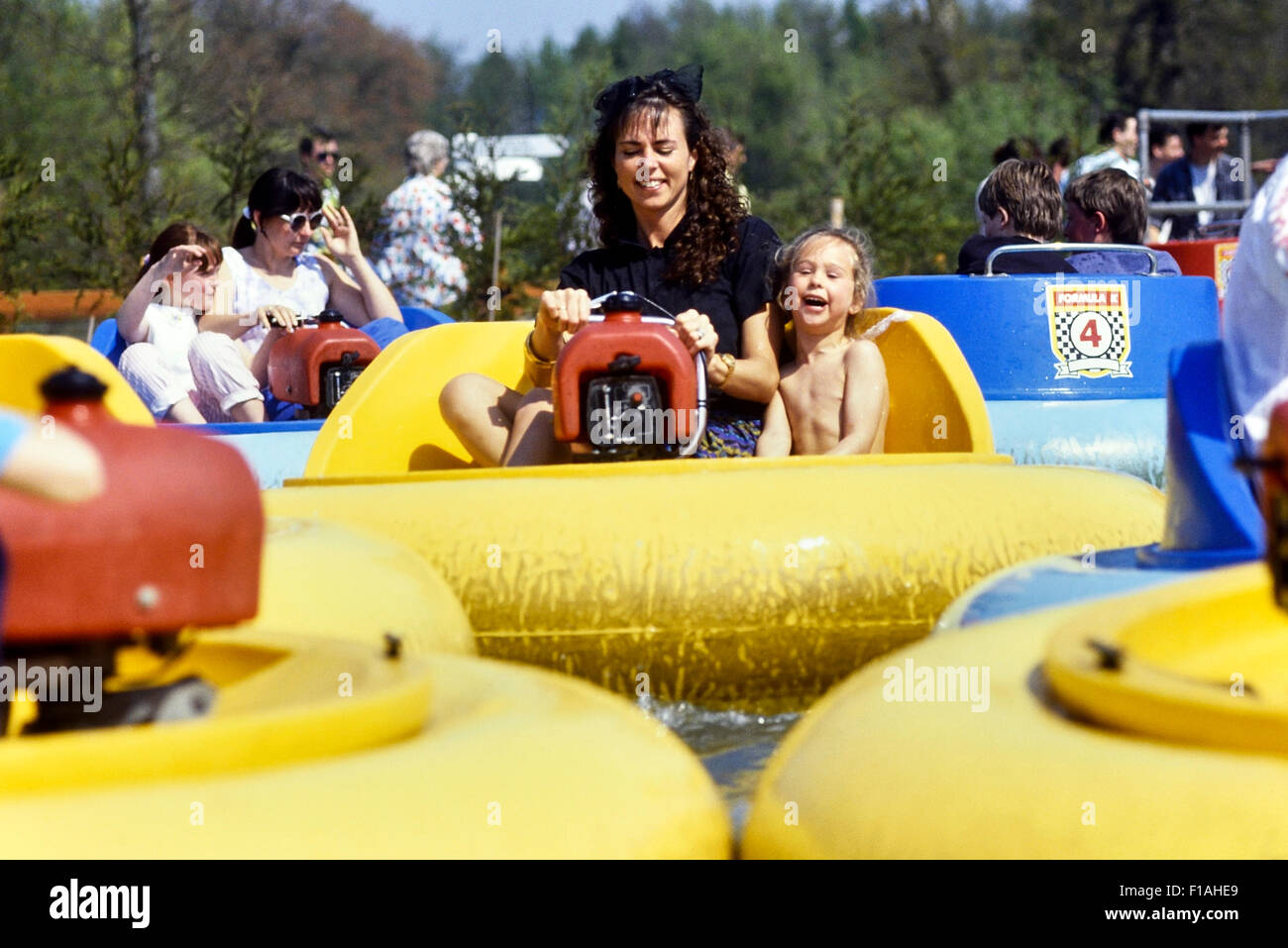 Bumper boats at Paultons Park. Ower. Hampshire. England Circa 1980's Stock Photo