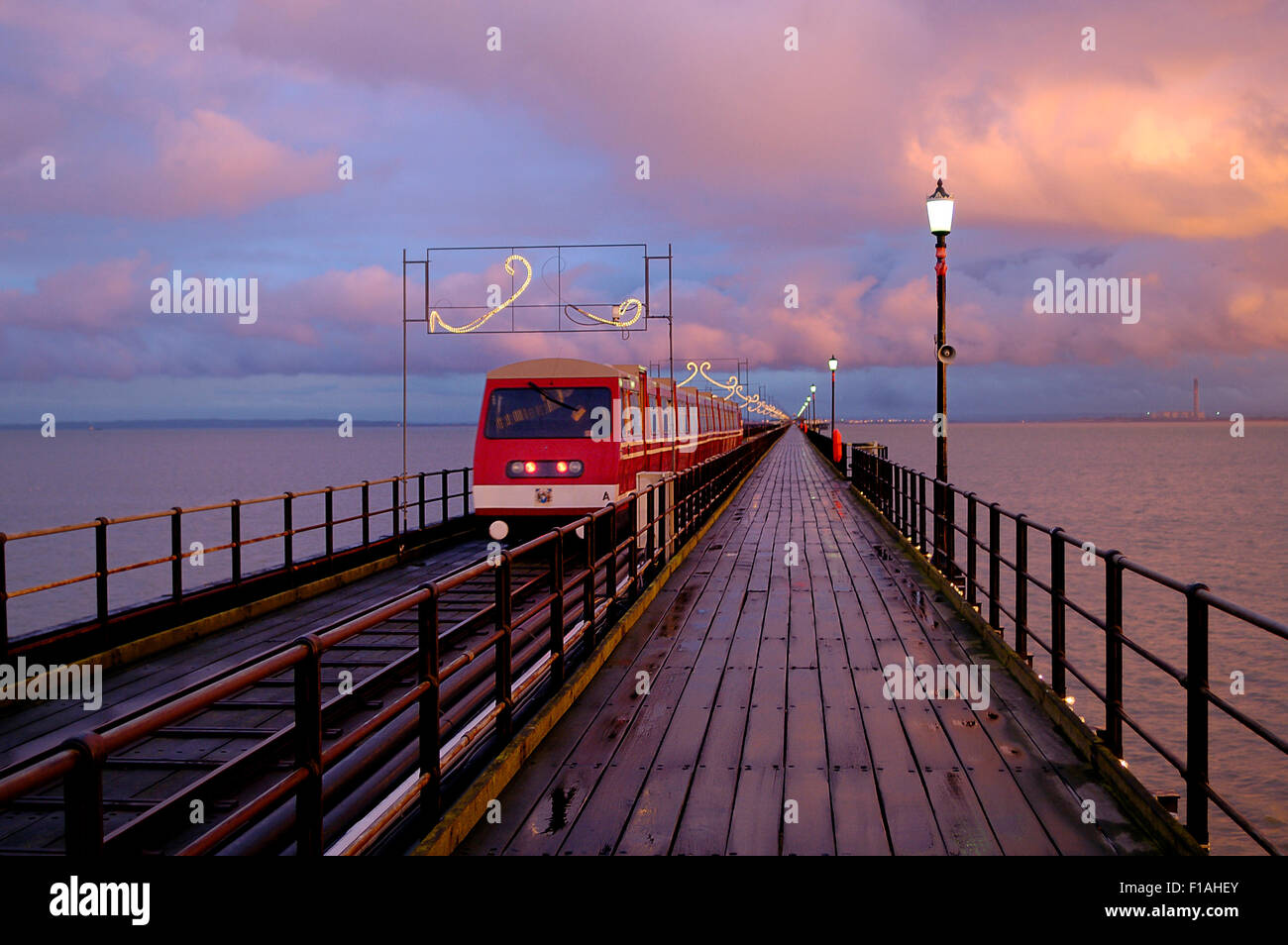 Southend pier and railway. Essex. England. UK - Stock Image
