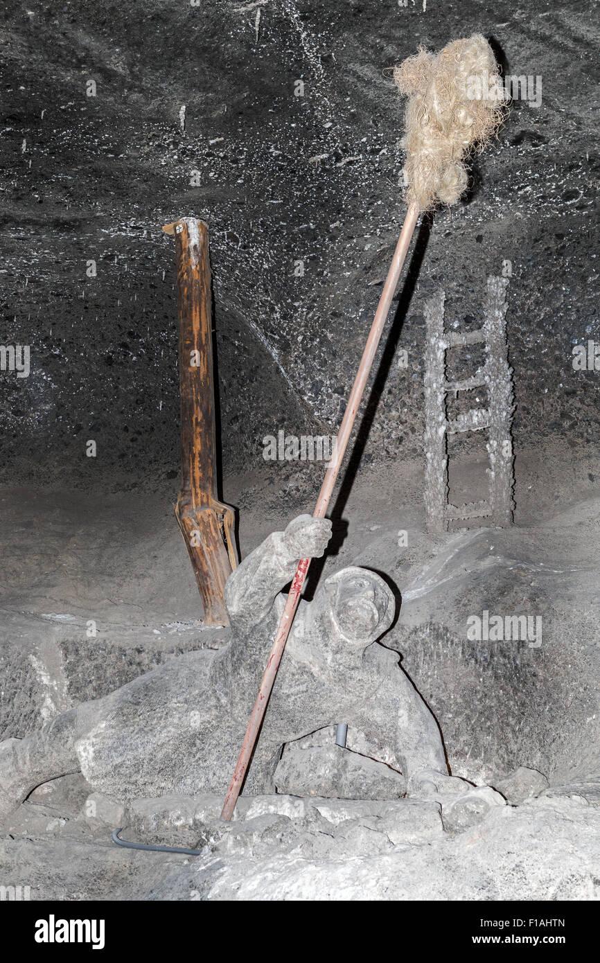 Checking for flammable gases Salt statues Kreciny Chamber 1666 (Chodnik Do Komory Kreciny) Wieliczka Salt Mine nr - Stock Image