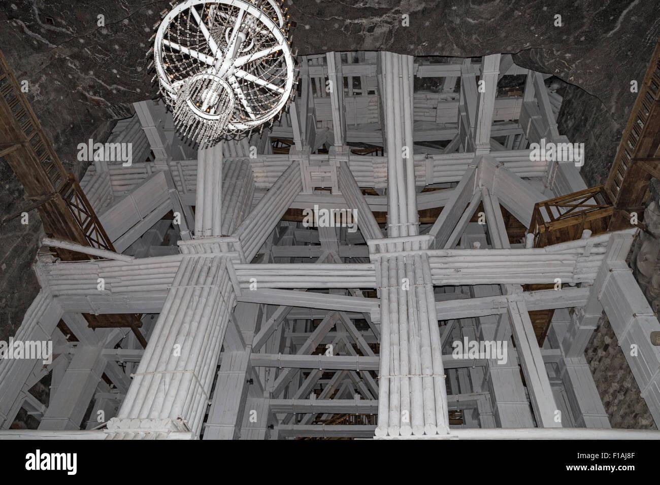 Supporting structures Wieliczka Salt Mine near Krakow Poland (Kopaina Soli) - Stock Image
