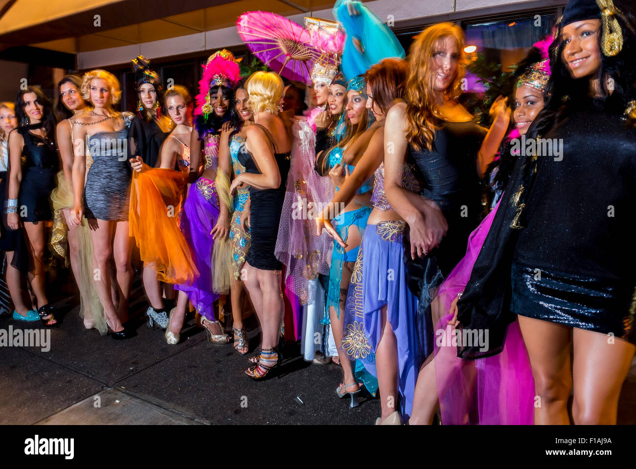 New York City, NY, USA, Group of Fashion Models posing for photographers outside Nightclub in Greenwich Village, - Stock Image