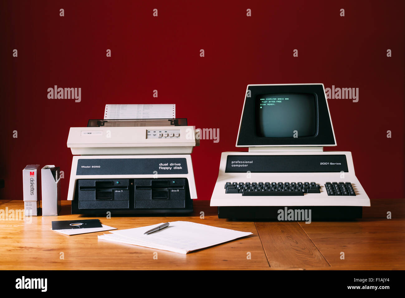 Vintage 1970's Personal Computer with Floppy Disk Drives and Dot Matrix Printer - Stock Image