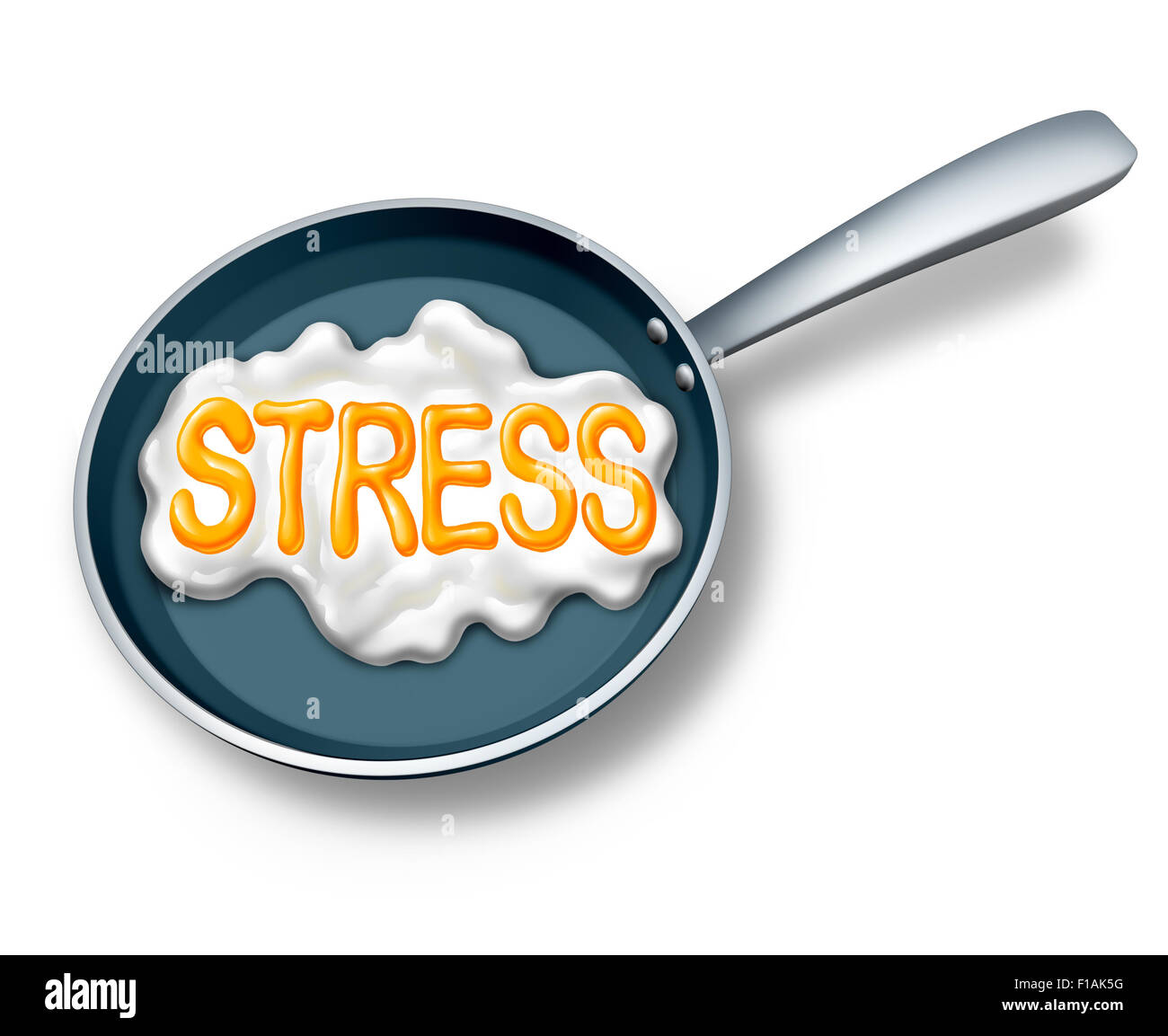 Stress concept and stressed out symbol or work burnout icon as a fried egg in a hot pan shaped as text as a mental - Stock Image