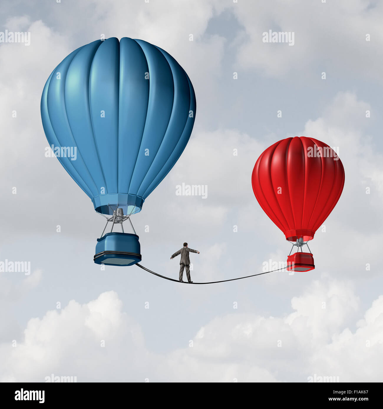 Change challenge and caution business motivational concept as person walking on a tight rope high wire from one - Stock Image