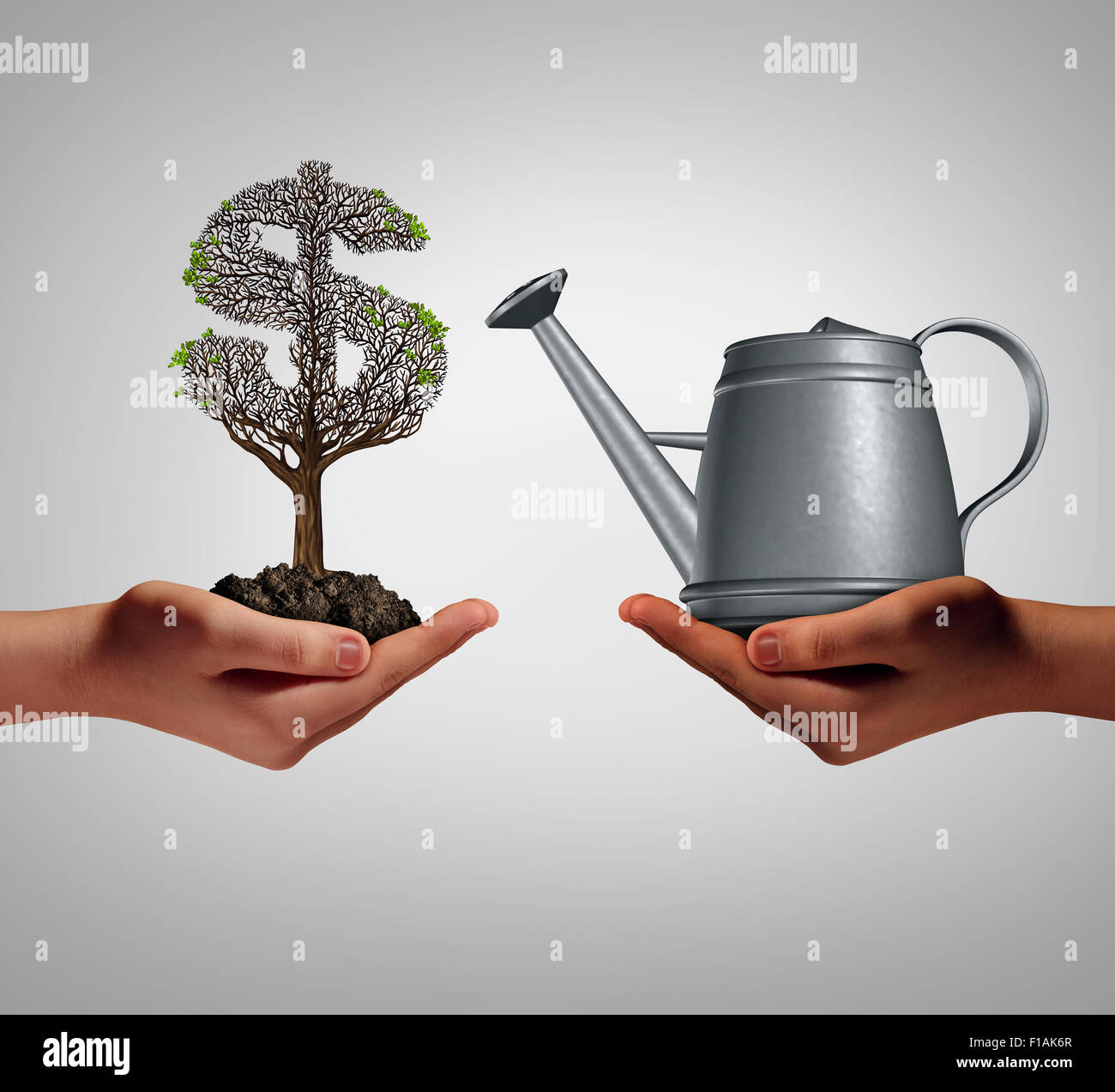 Financial assistance and business help concept as two hands holding a watering can and a struggling money tree as - Stock Image