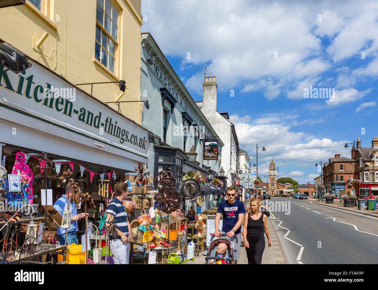 Shops on the High Street, Newmarket, Suffolk, England, UK - Stock Image