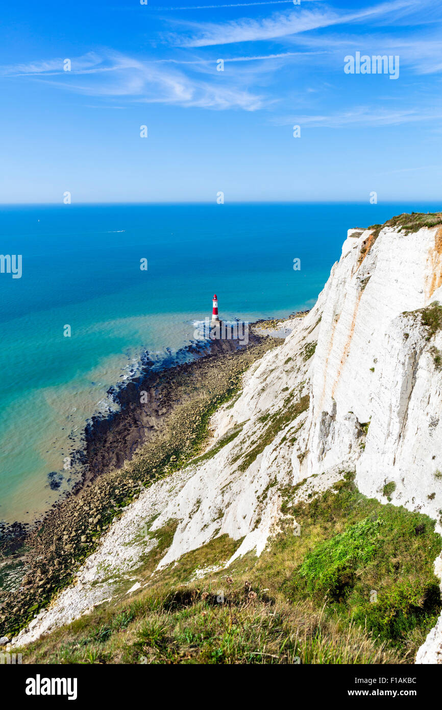 Chalk cliffs and lighthouse at Beachy Head, near Eastbourne, East Sussex, England, UK - Stock Image