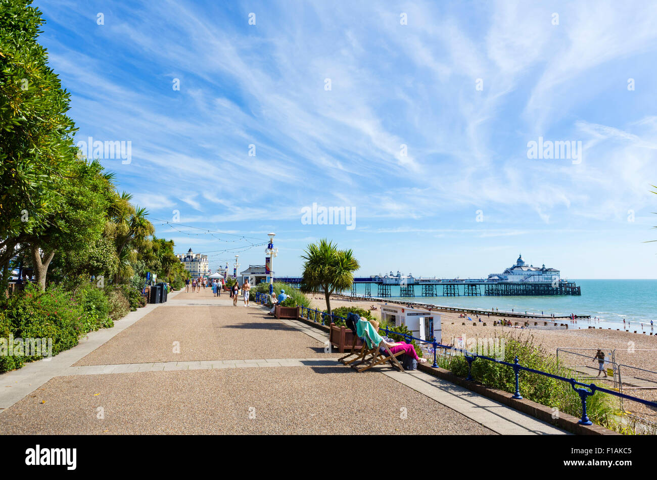 The seafront promenade and pier in Eastbourne, East Sussex England, UK - Stock Image