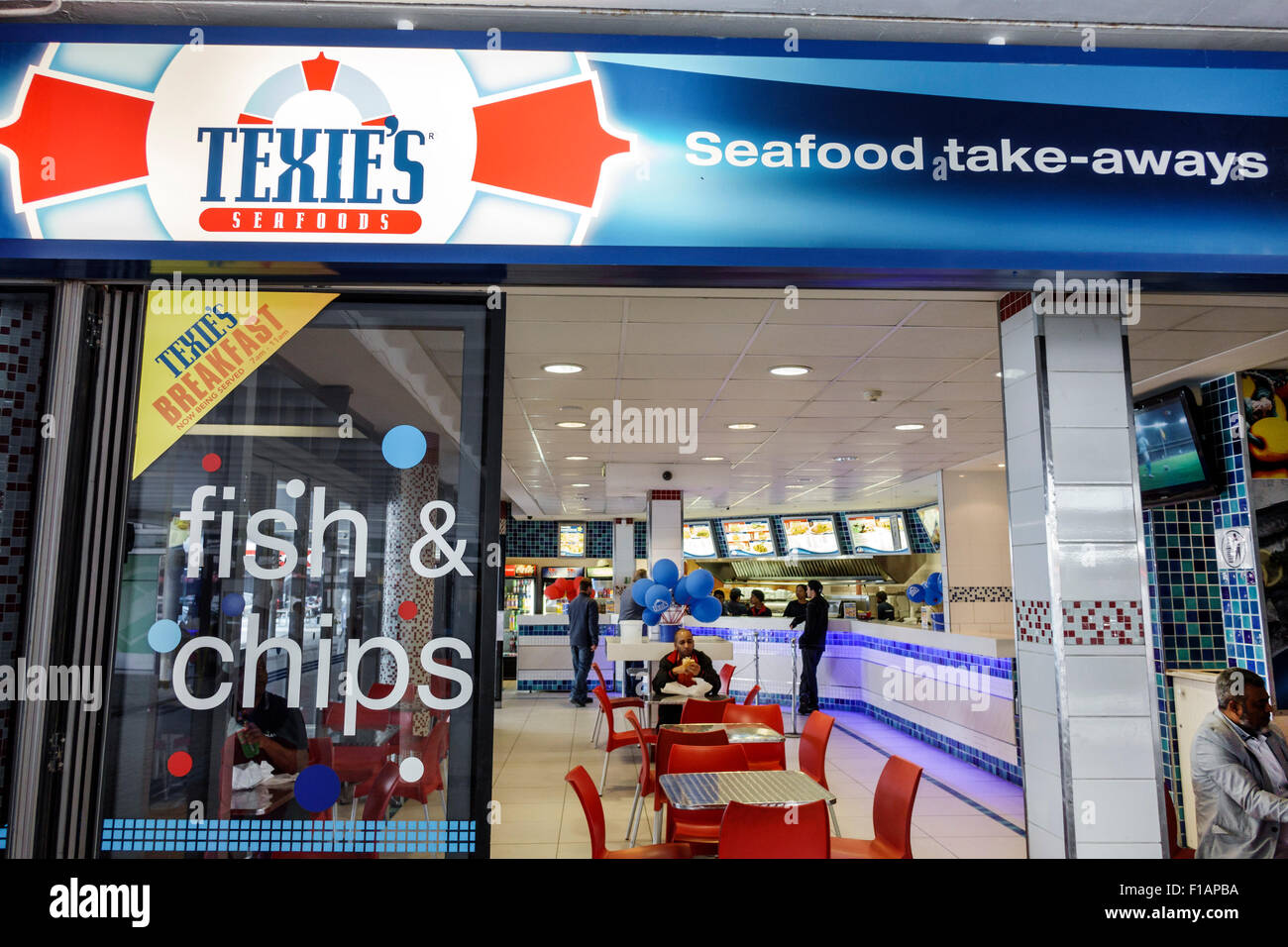 Cape Town South Africa African City Centre center Adderley Street Texie's Seafoods front entrance restaurant - Stock Image
