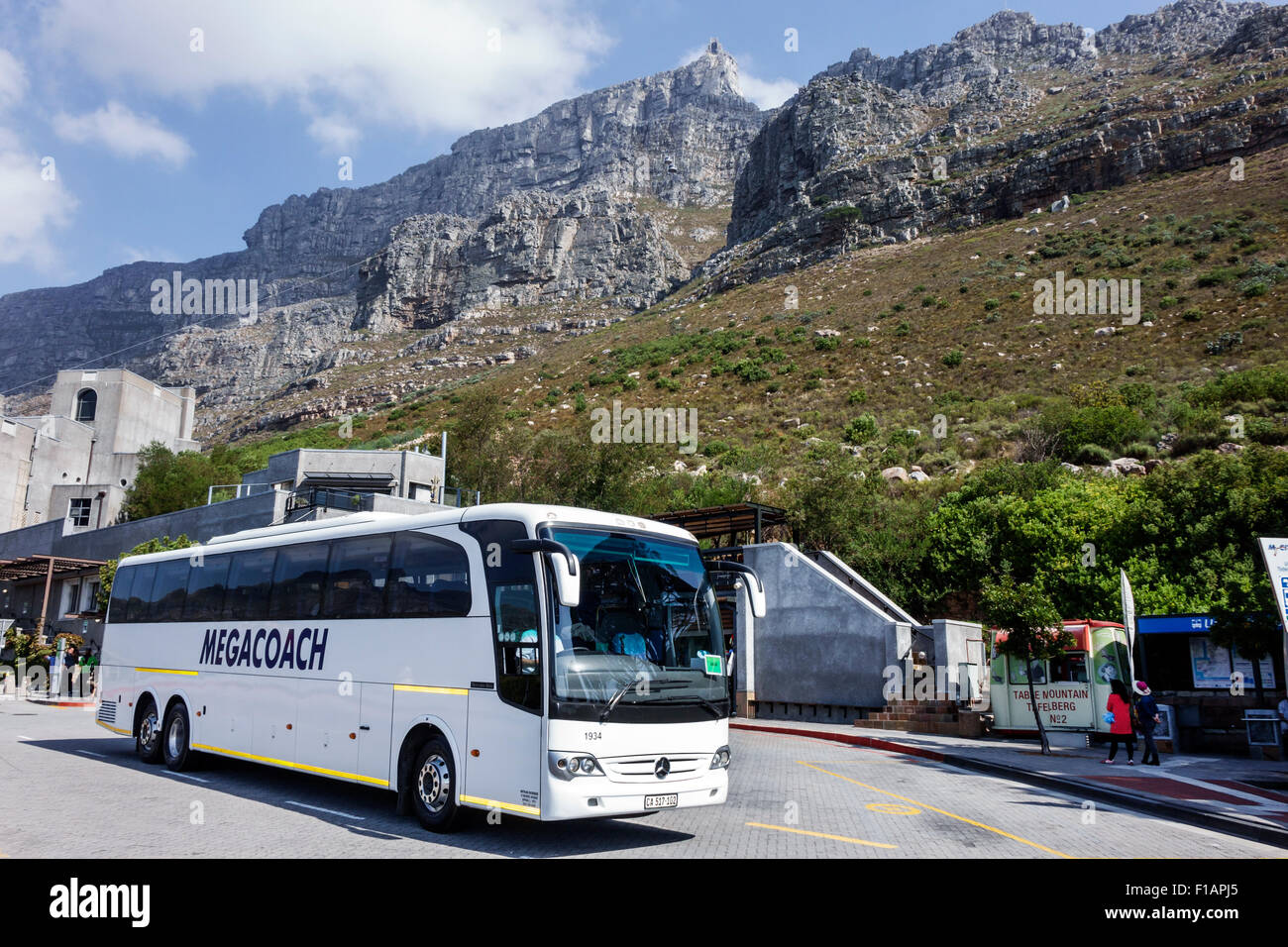Cape Town South Africa African Table Mountain National Park Tafelberg Road Aerial Cablecar Cableway Tramway lower - Stock Image