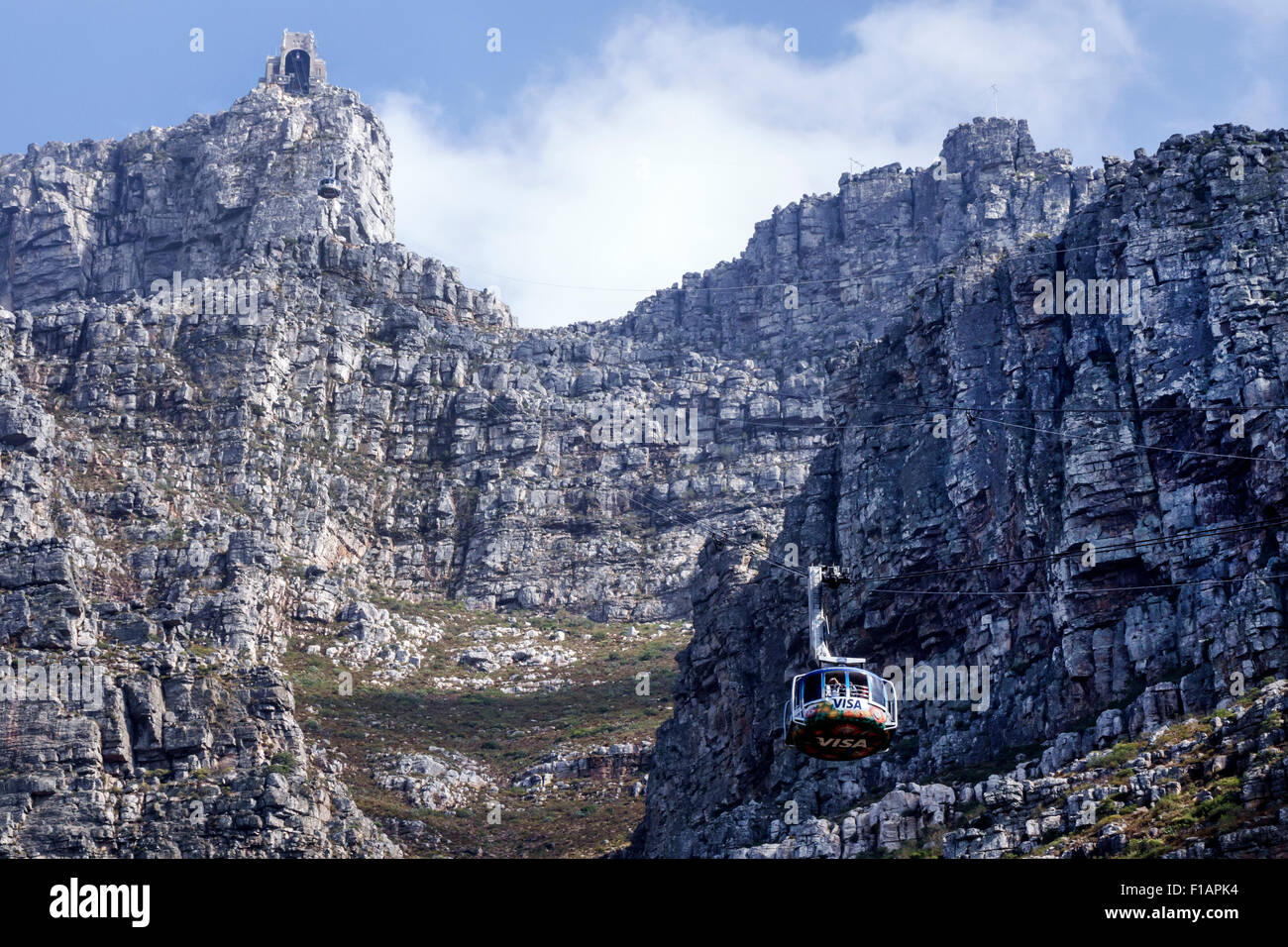Cape Town South Africa African Table Mountain National Park nature reserve Tafelberg Road Aerial Cable car Cableway - Stock Image