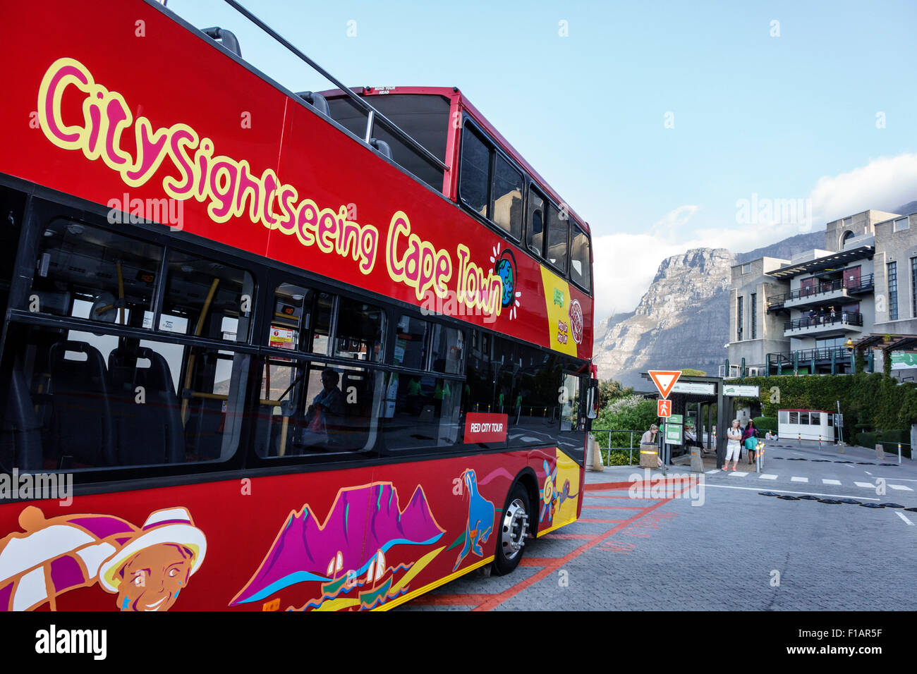 Cape Town South Africa African Table Mountain National Park Tafelberg Road City Sightseeing red double decker bus - Stock Image