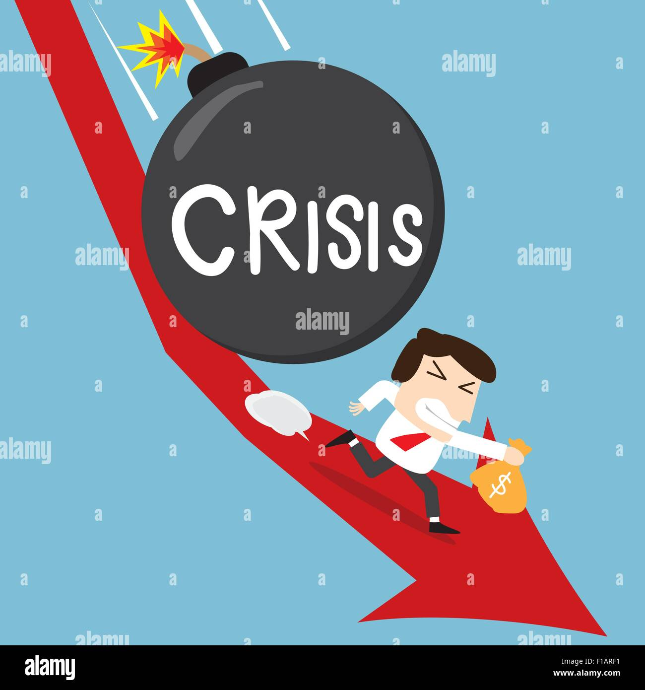 business man holding his money runaway from crisis bomb in stock down trend situation - Stock Vector