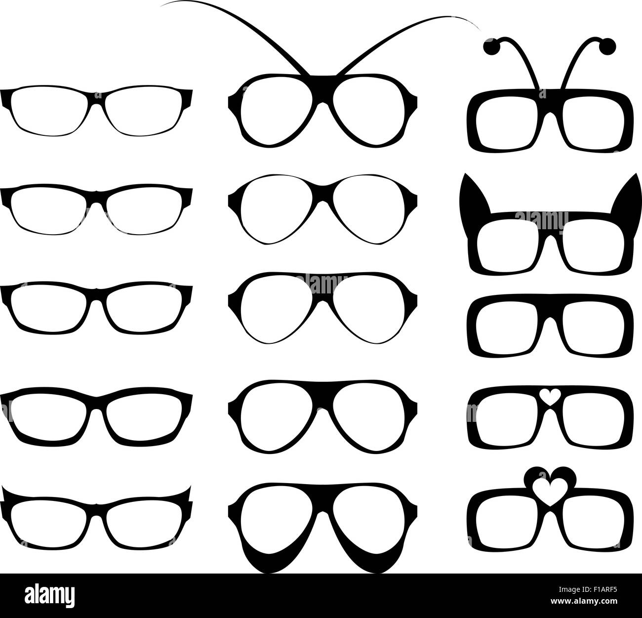 Set of glasses frame in fancy style in modern and fancy concept. vector illustration. - Stock Image