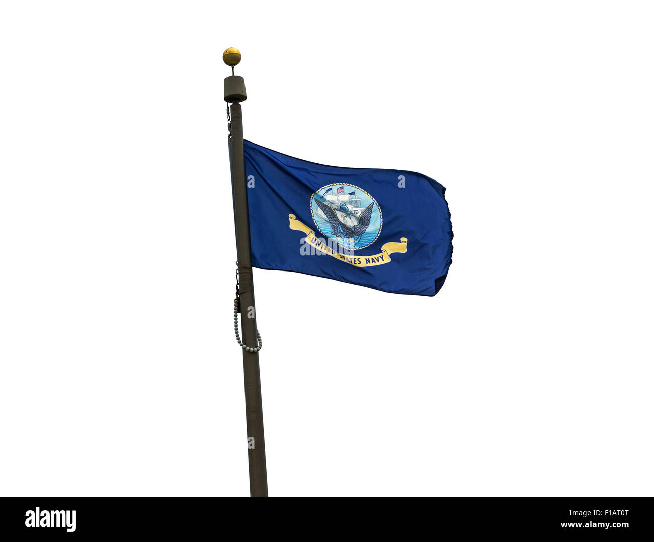 U.S. Navy flag on a white background. - Stock Image