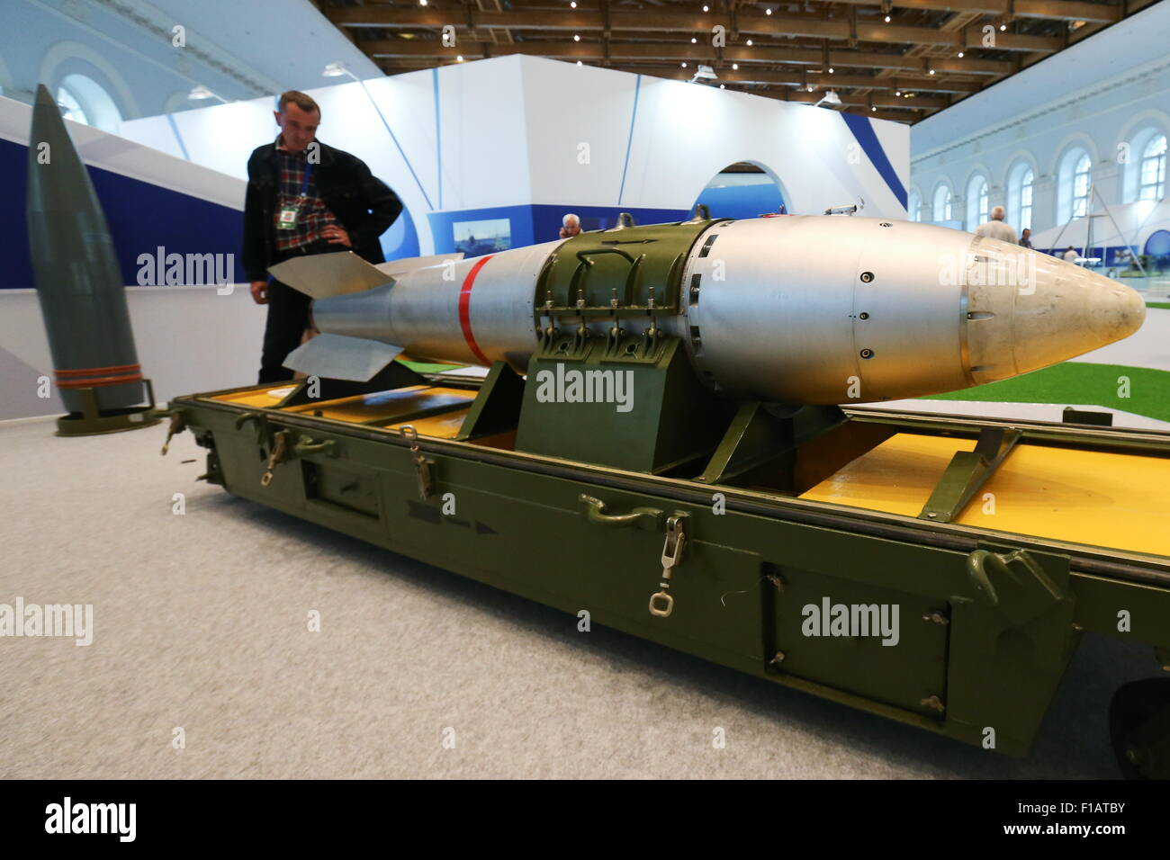 Moscow, Russia. 31st Aug, 2015. RN-28, a minor size aviation bomb carrying a nuclear device (1960s) on display during Stock Photo
