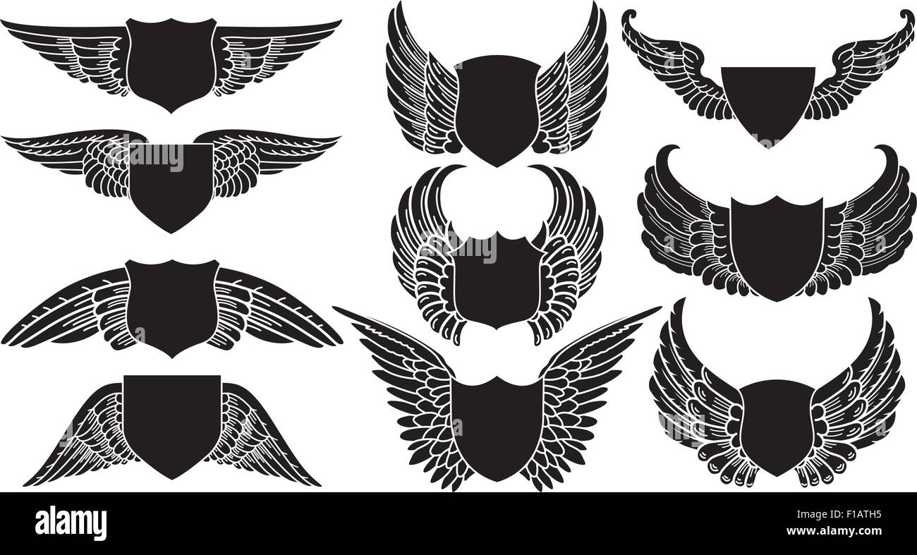Shields With Wings Create Your Own Logo Stock Vector Art