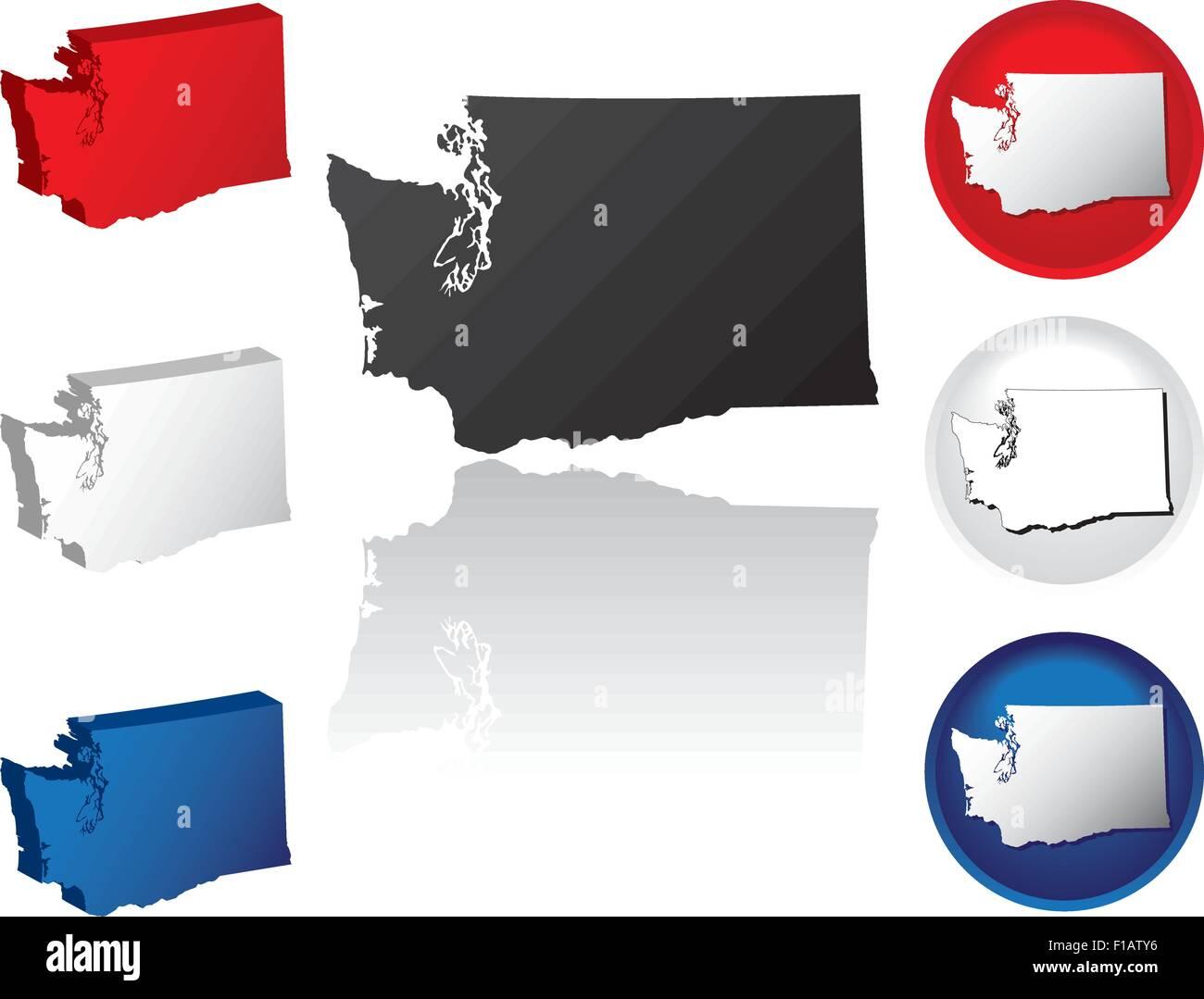 Washington Icons - Stock Vector