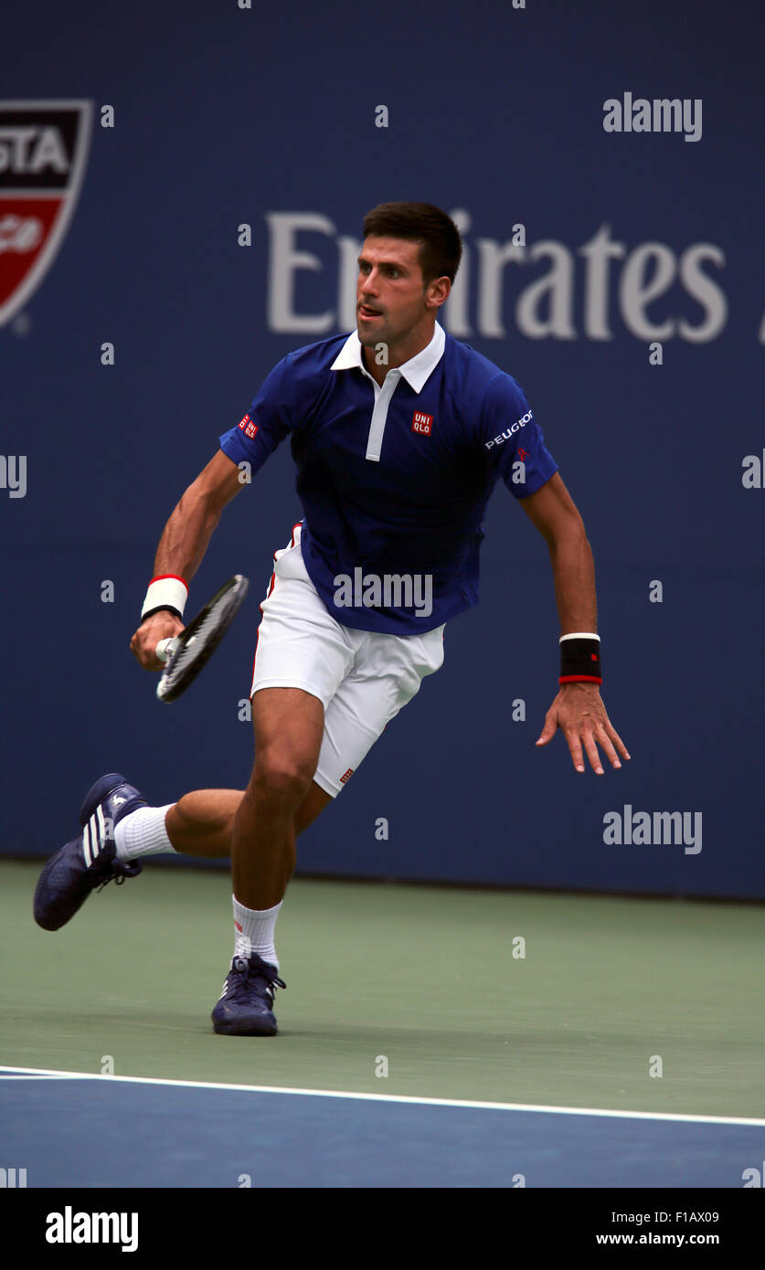 New York, USA. 31st Aug, 2015. Number one seed Novak Djokovic in first round action against Joao Souza of Brazil - Stock Image