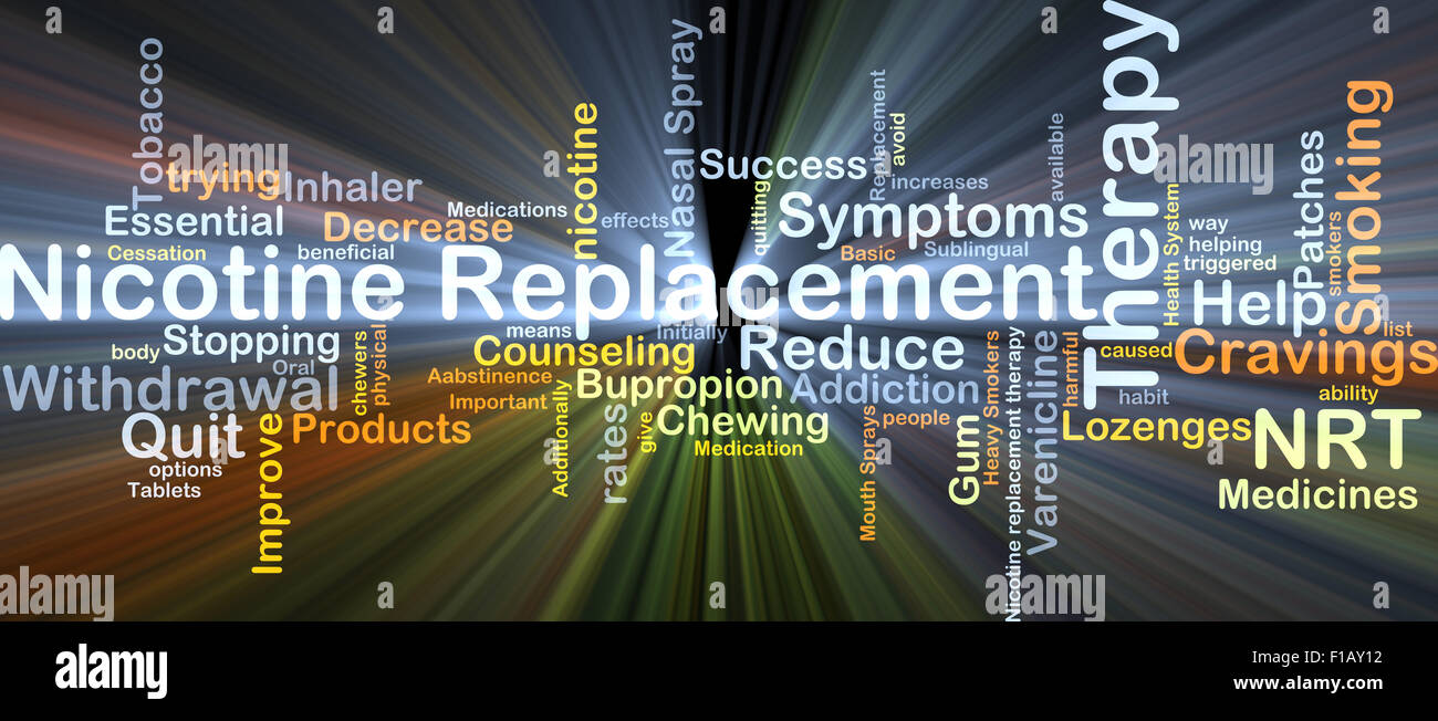 Background concept wordcloud illustration of nicotine replacement therapy NRT glowing light - Stock Image