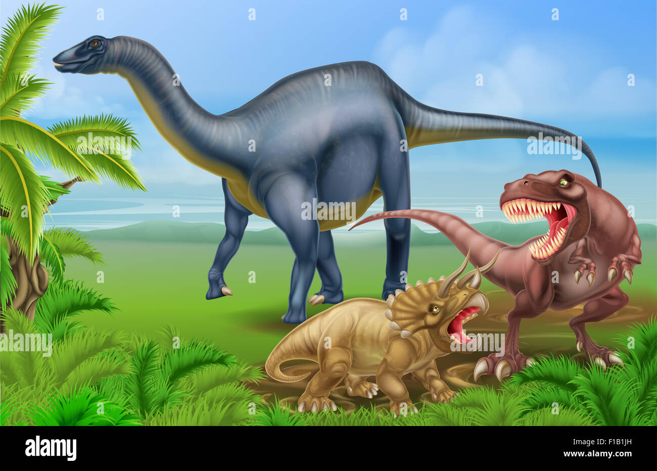 A tyrannosaurus Rex or T Rex and triceratops dinosaur in combat with a Diplodocus in the background dinosaur scene Stock Photo
