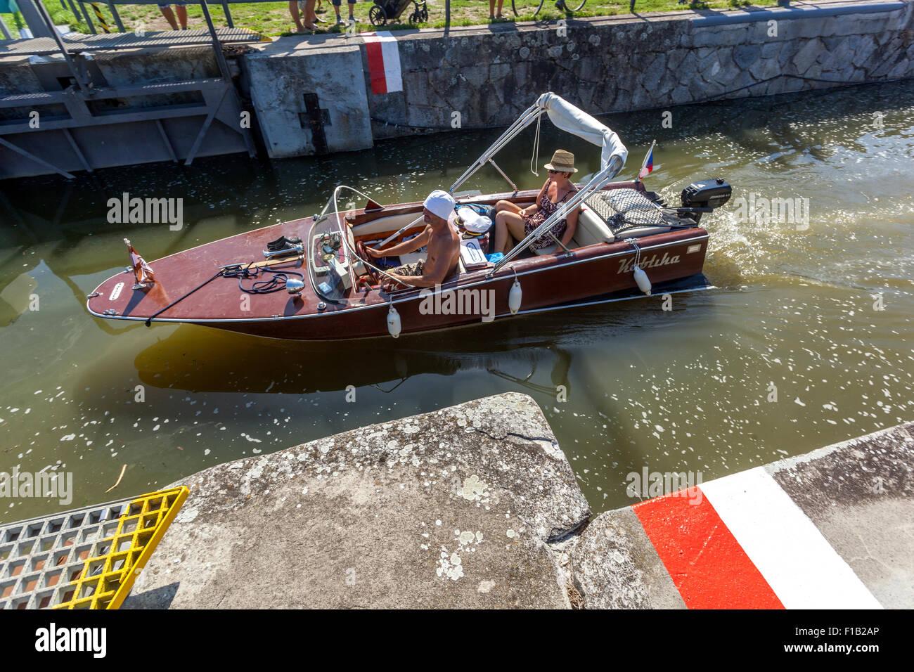 Passage through the ship lock chamber. Bata Canal, port Straznice Petrov, South Moravia, Czech Republic, Europe, Stock Photo