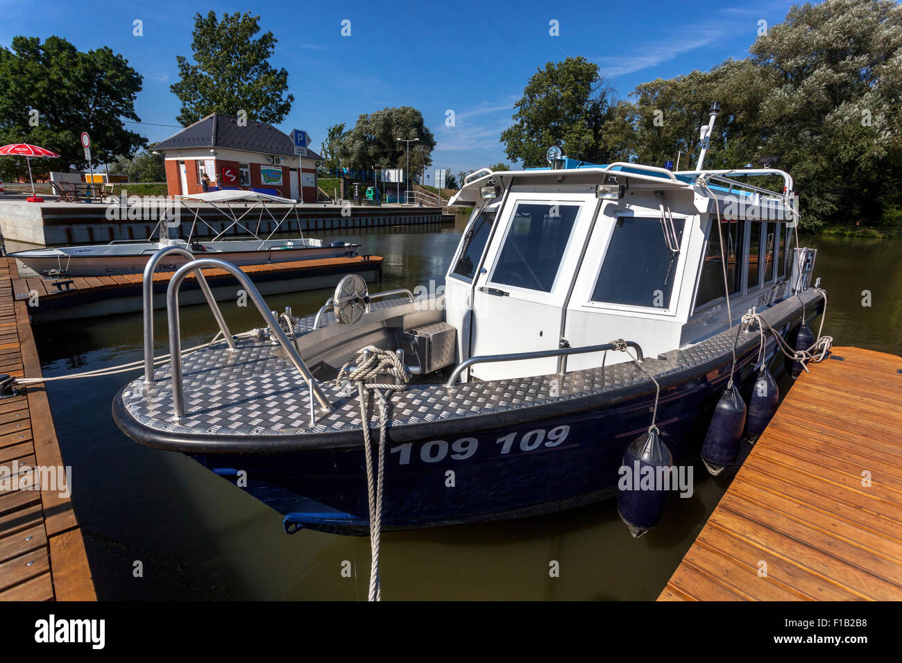Bata Canal, port Straznice Petrov, South Moravia, Czech Republic, Europe Bata Canal is a navigable canal on the Stock Photo