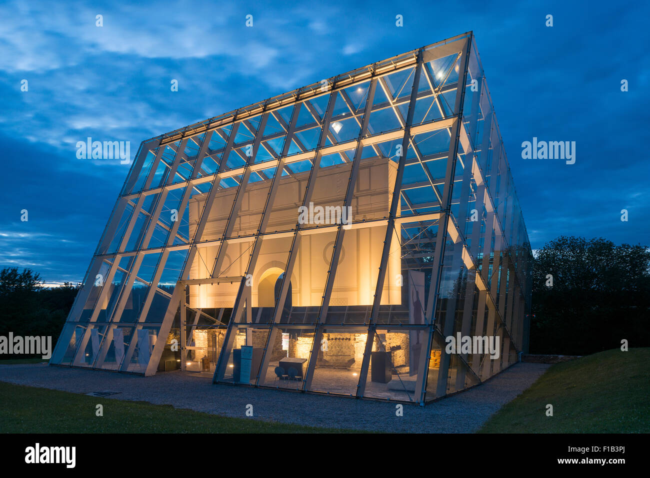 Limestor Dalkingen, protected by a glass building, World Heritage Site, at dusk, Rainau, Baden-Württemberg, - Stock Image