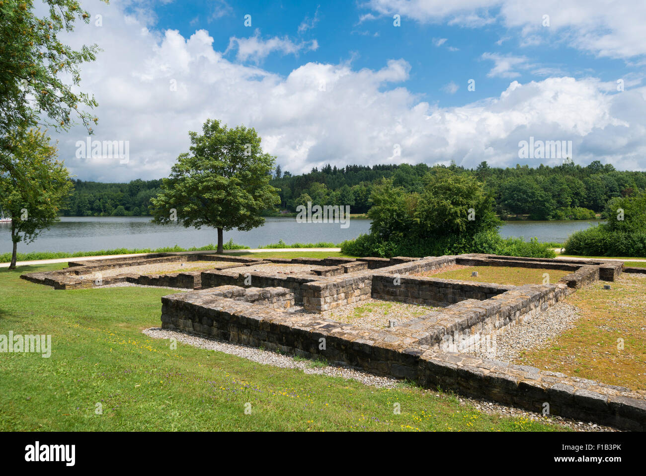Roman fort bath, open-air museum at the Limes, Rainau, Baden-Württemberg, Germany - Stock Image