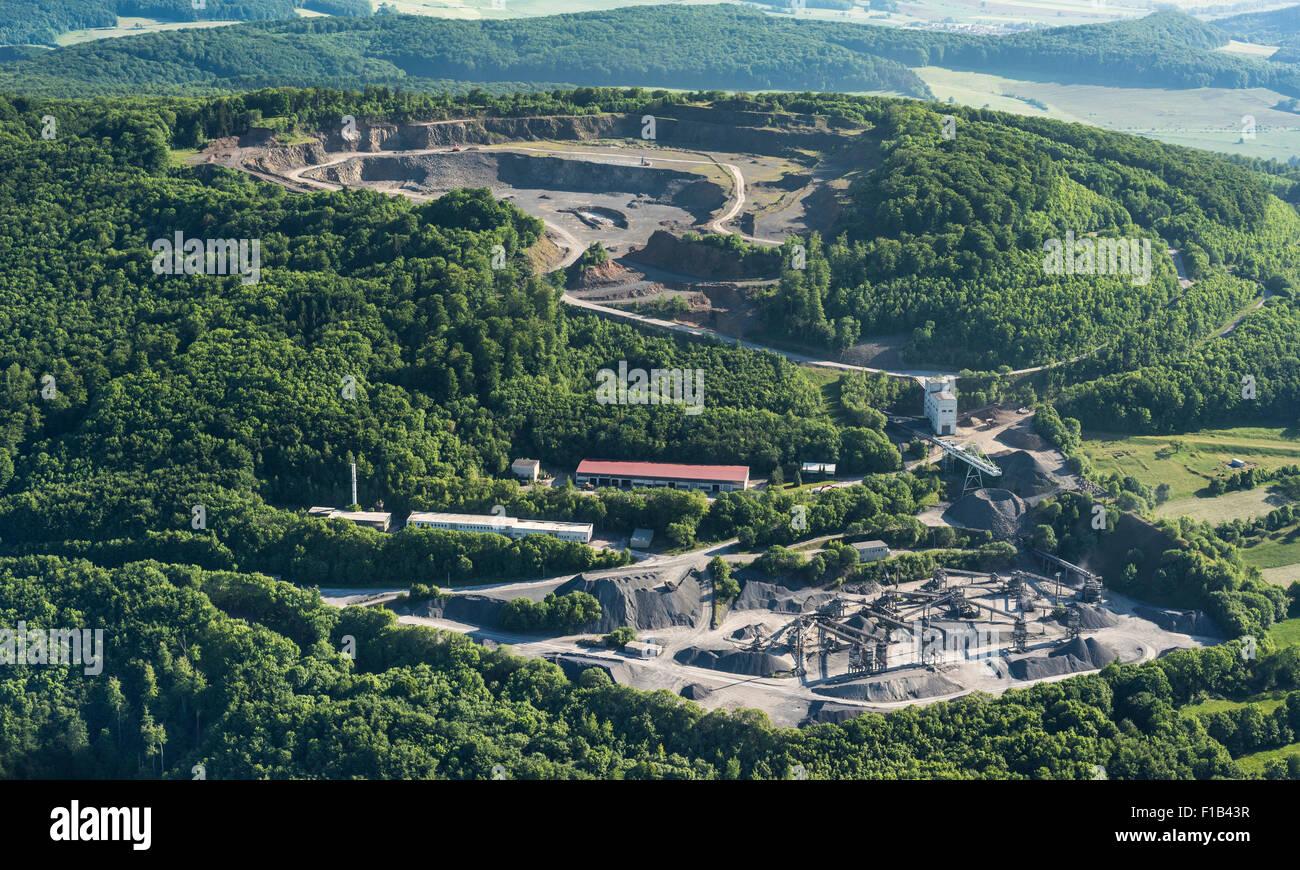 Basalt mining on Dietrichsberg, Mitteldeutsche Hartstein-Industrie GmbH, Vacha, Rhön, Thuringia, Völkershausen, - Stock Image