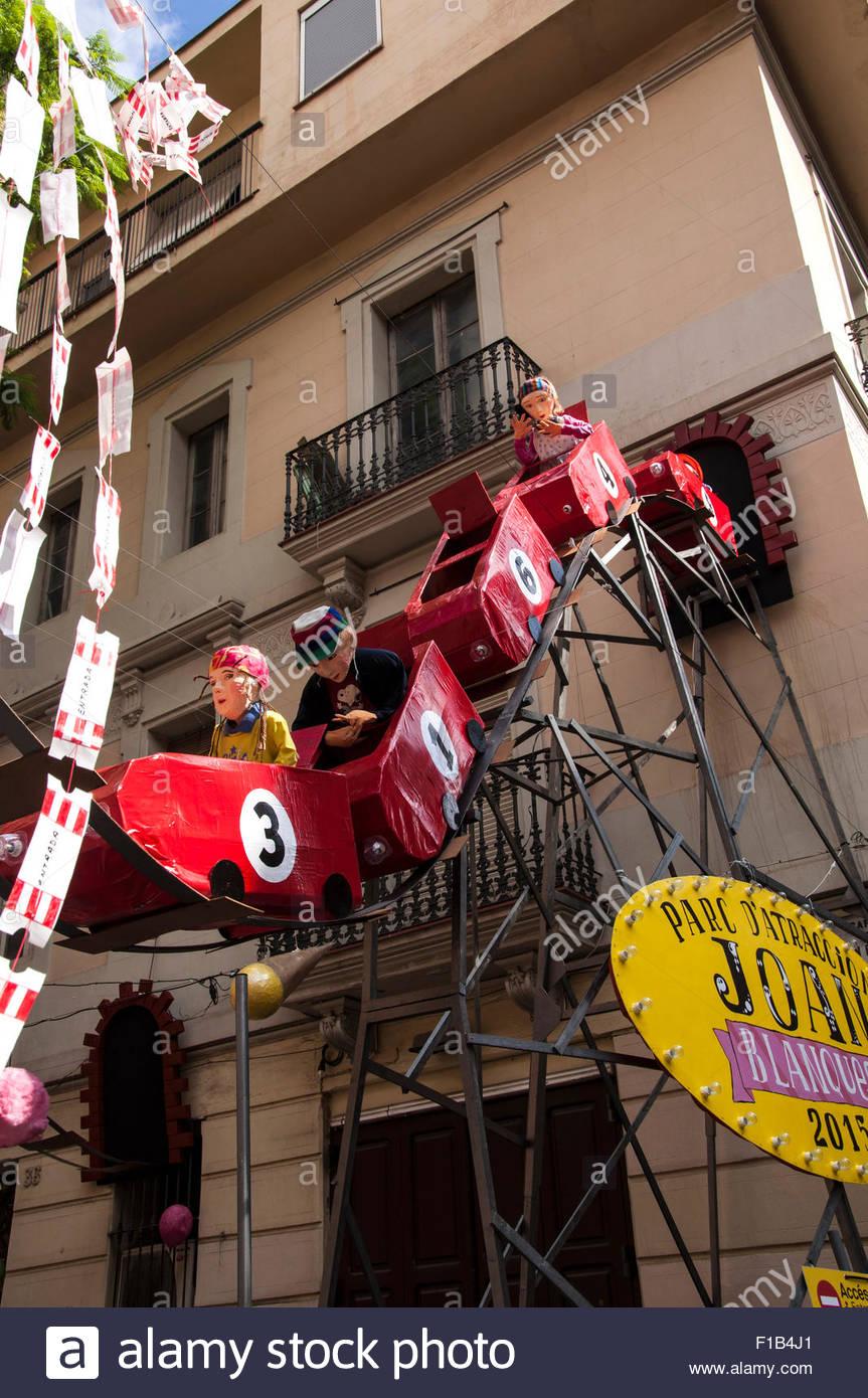 Gracia Summer Festival, Fiestas Gracia, Barcelona, Spain - Stock Image
