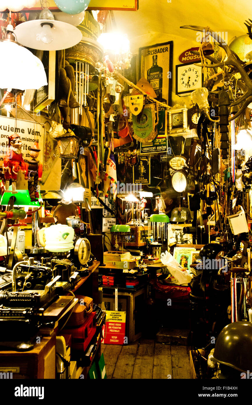 interior of an antique and curiosities shop - Stock Image