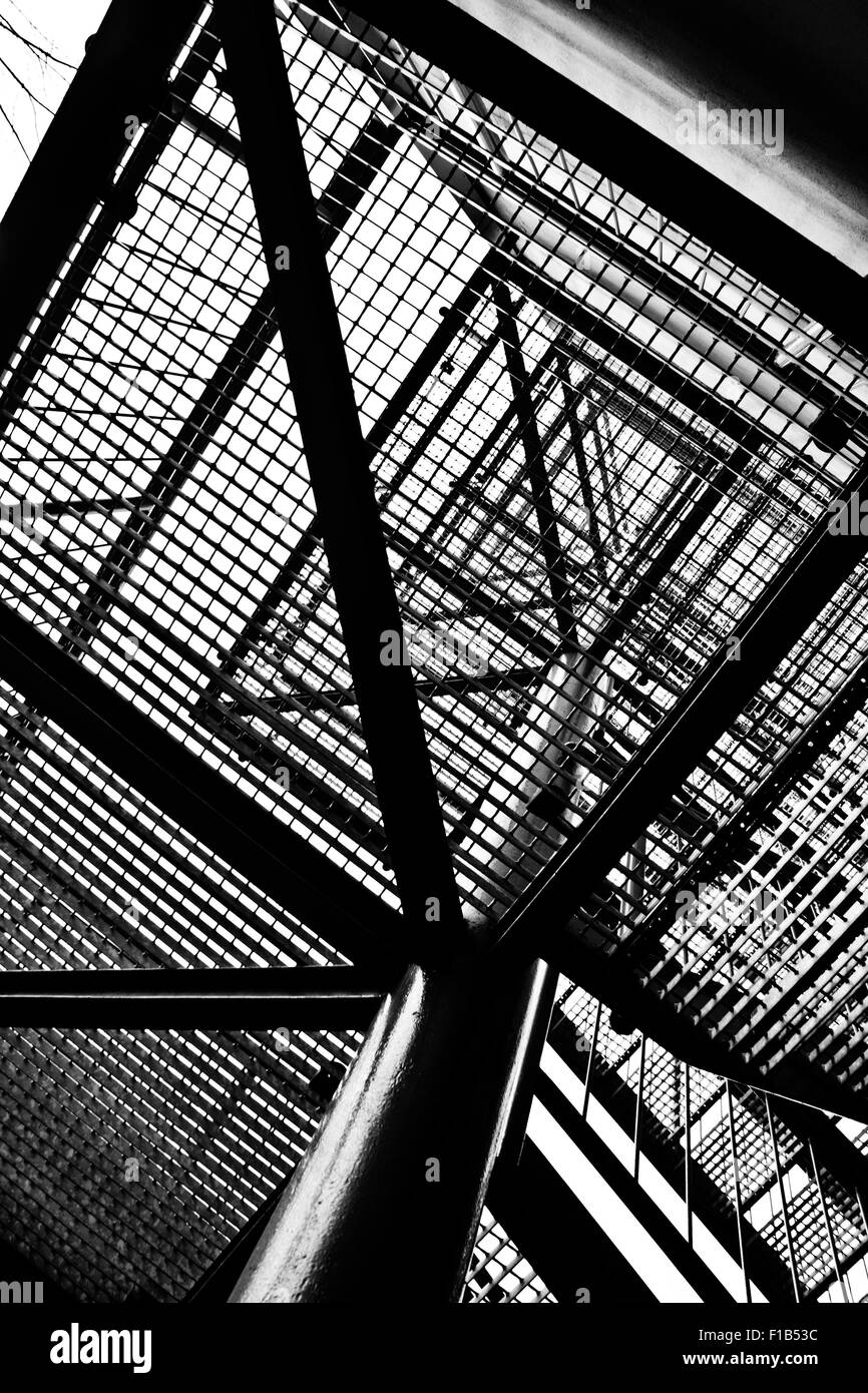 abstract metal stairs, view from below - Stock Image