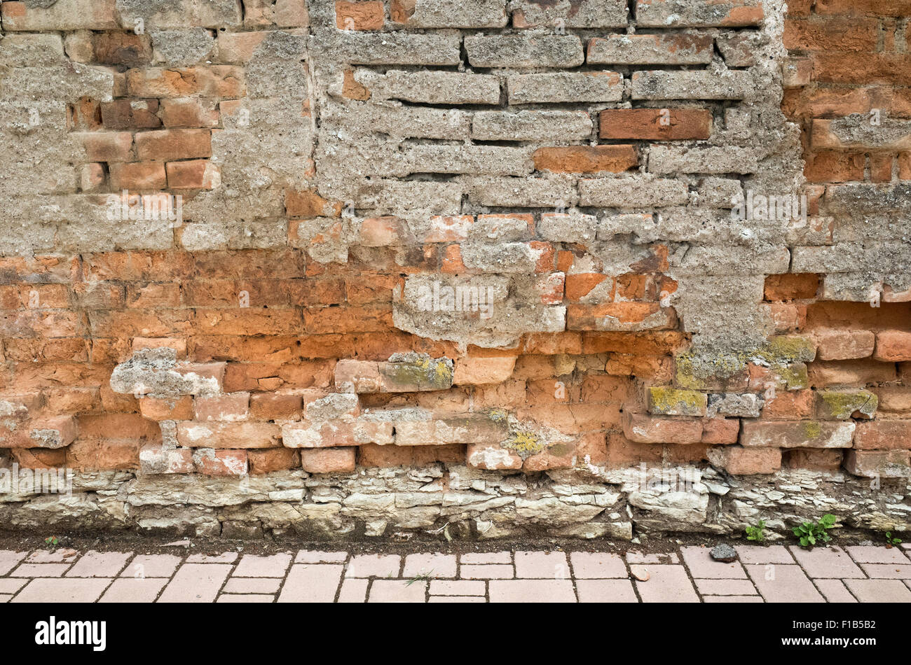 distressed and damaged wall - Stock Image