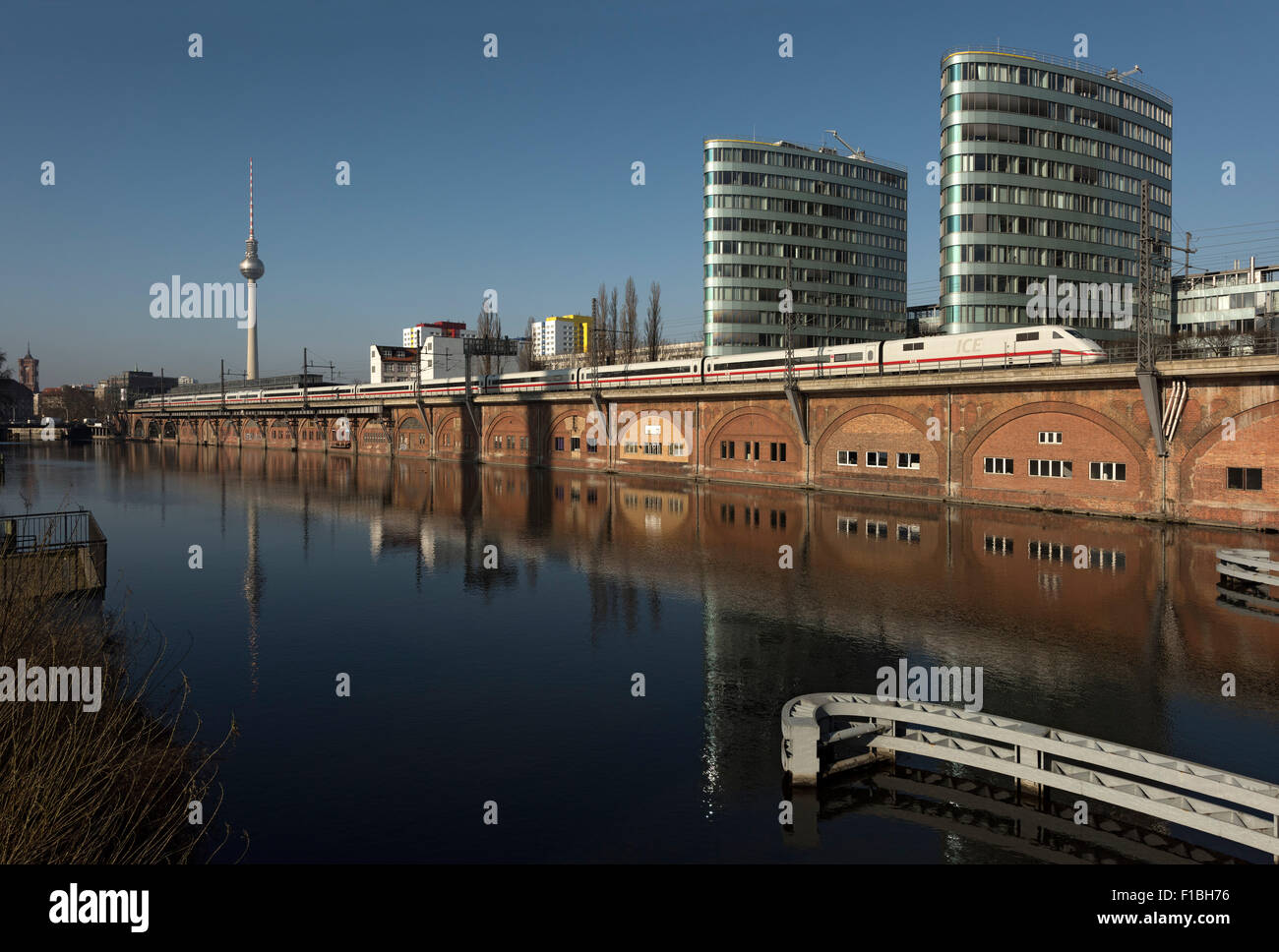 Berlin, Germany, the Triassic, the TV tower and a ICE on the River Spree - Stock Image