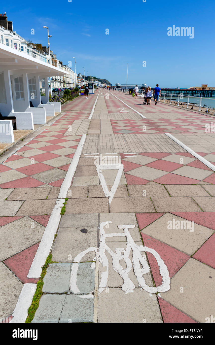 A cycle lane along the promenade in Hastings, East Sussex England, UK - Stock Image