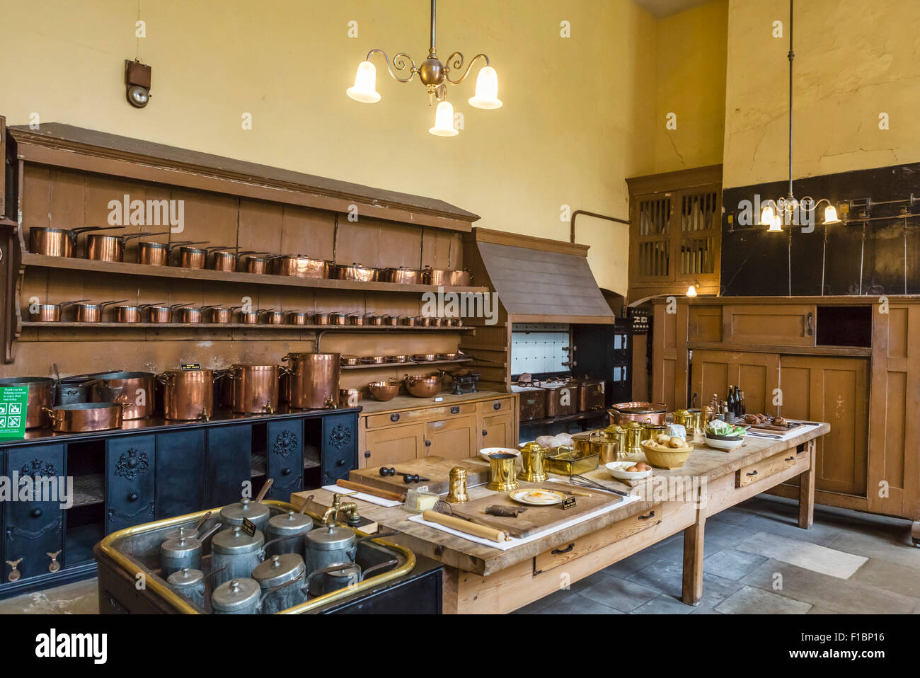 The historic kitchens at Petworth House, West Sussex, England, UK - Stock Image