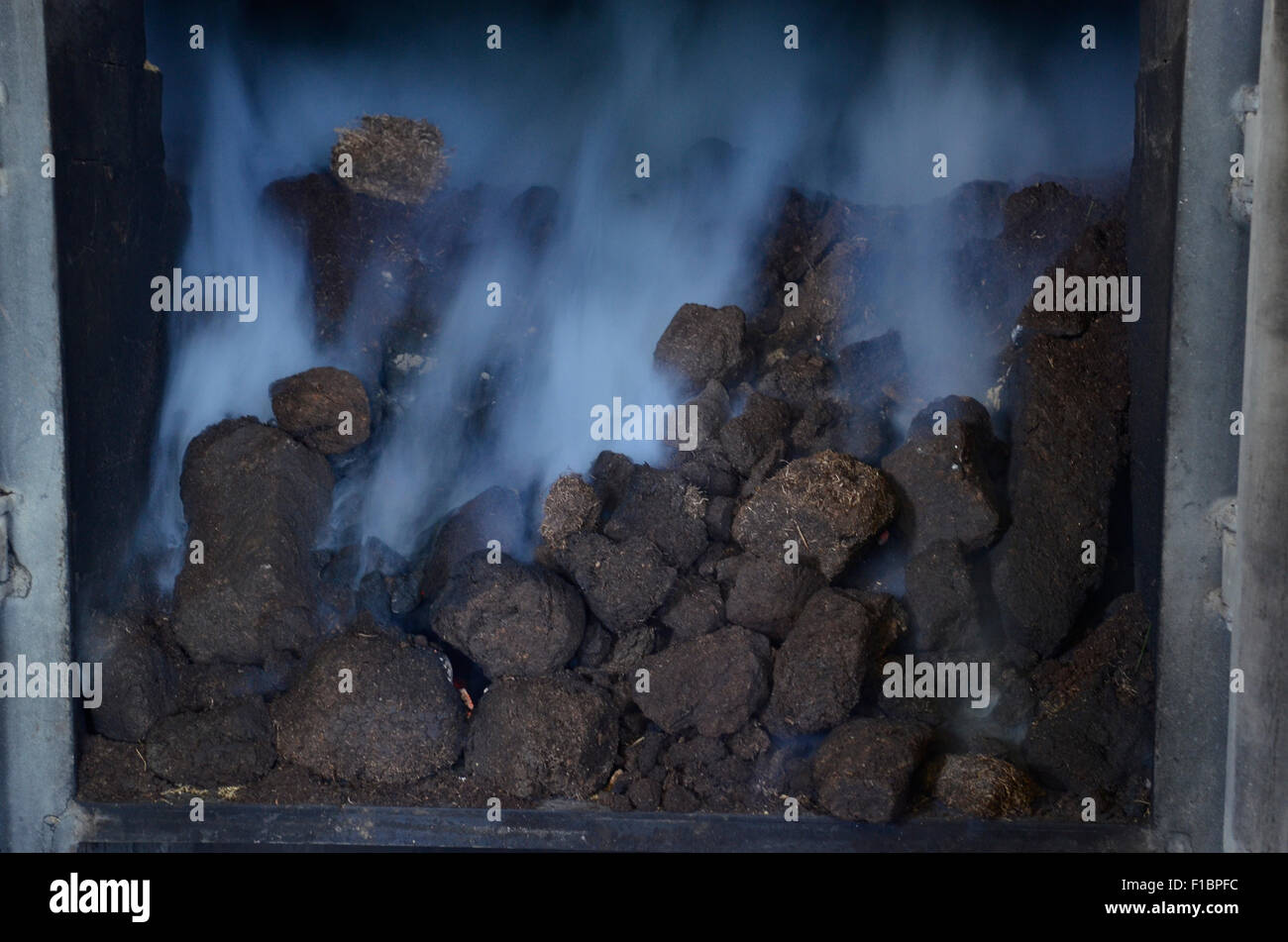 Peat burning in a furnace at the Laphroaig whisky distillery in Islay, Scotland, Great Britain - Stock Image