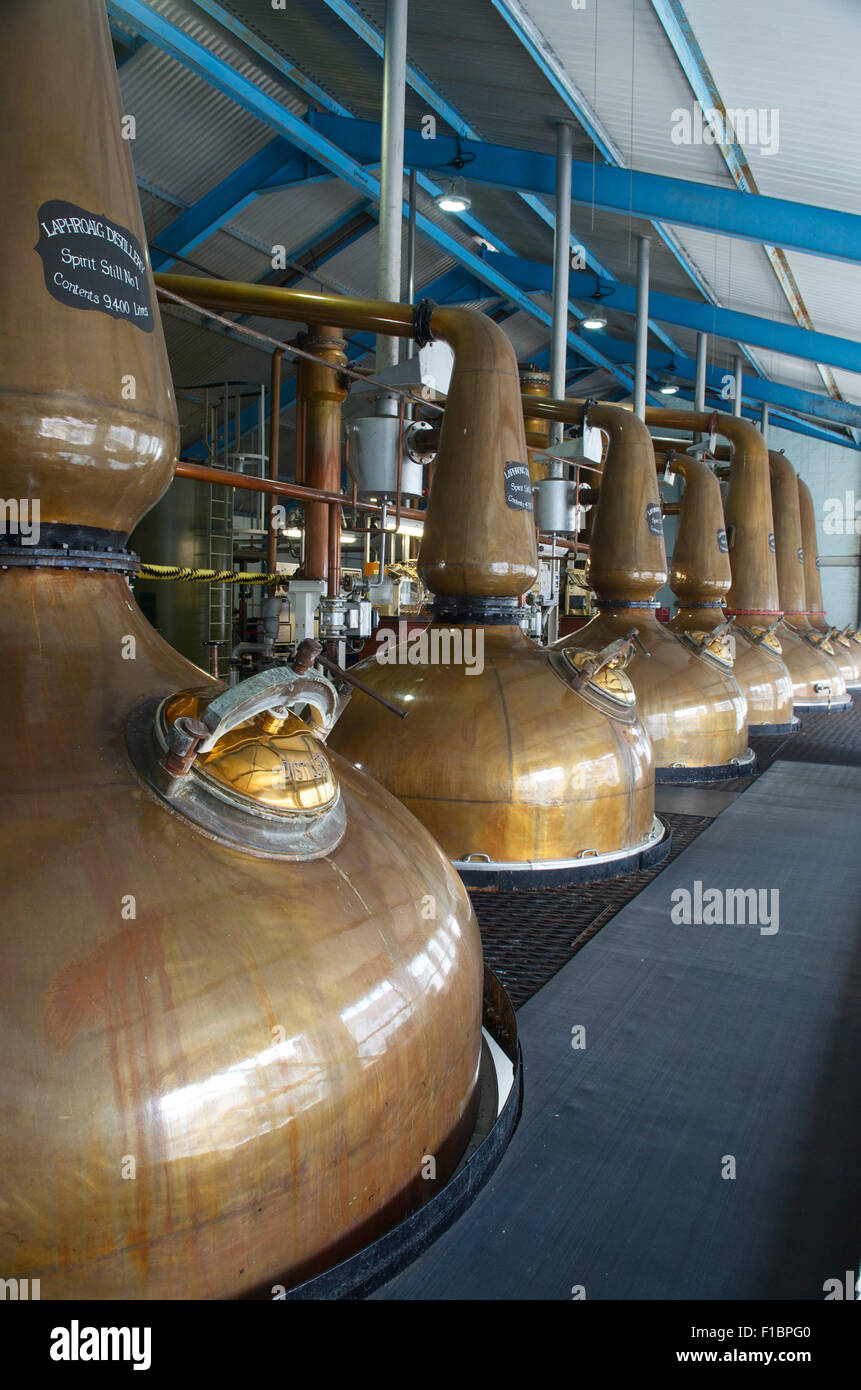 Copper Stills at the Laphroaig Whisky Distillery, Islay, Scotland, Great Britain - Stock Image