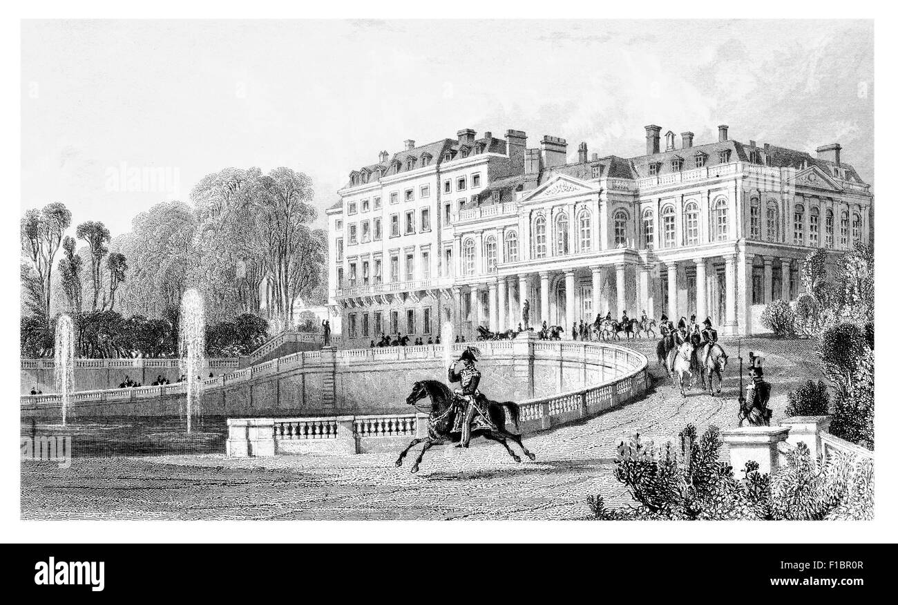 Palace of St Saint Cloud 1830 cavalry officer mounted horse guard - Stock Image
