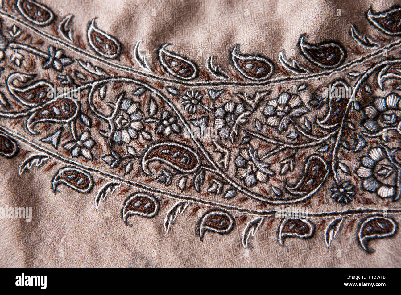 India, Jammu & Kashmir, Srinagar, hand embroiderered pashmina pattern in muted natural neutral colours - Stock Image