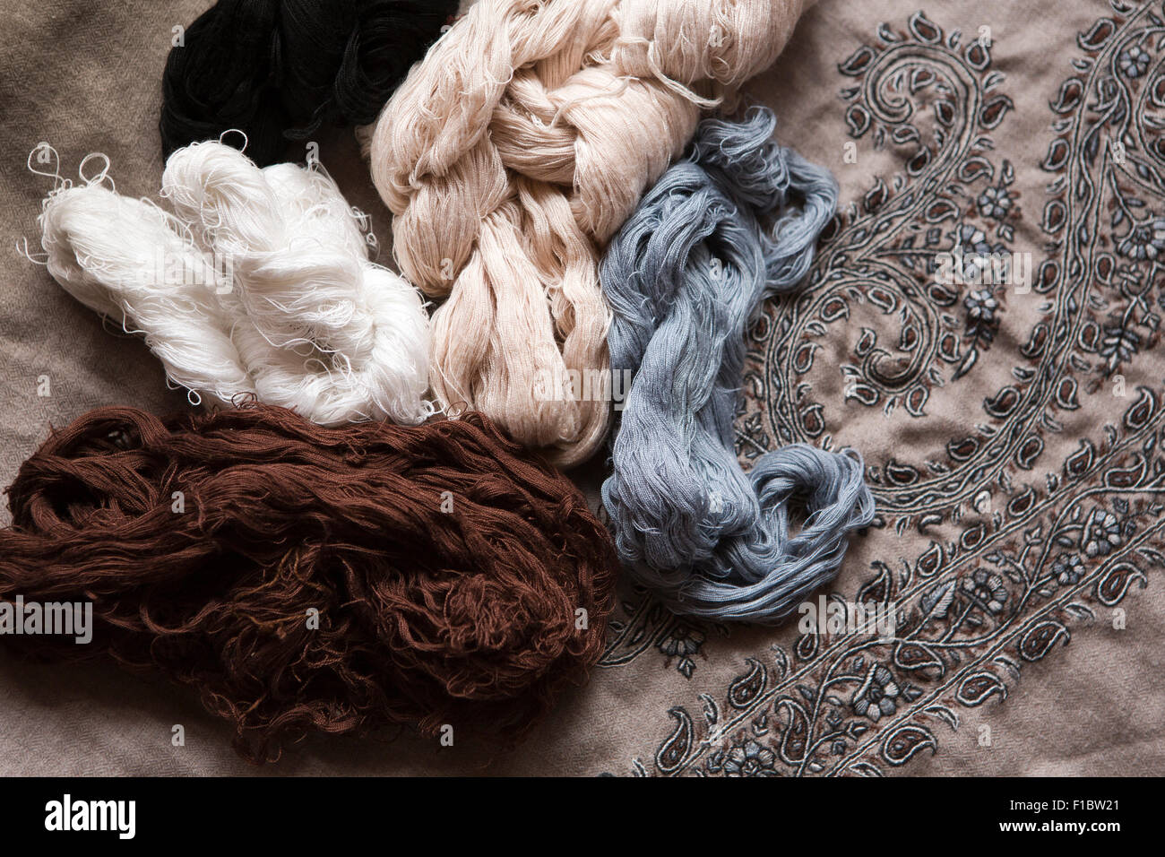 India, Jammu & Kashmir, Srinagar, muted natural neutral coloured pashmina embroiderery threads - Stock Image