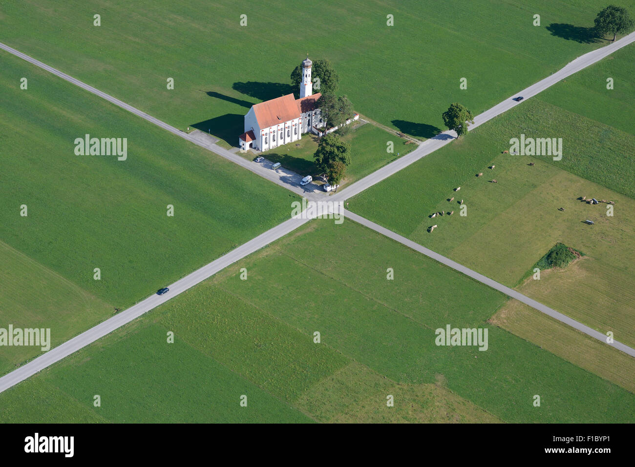 ST. COLOMAN CHURCH (aerial view). Schwangau, Füssen, Bavaria, Germany. - Stock Image