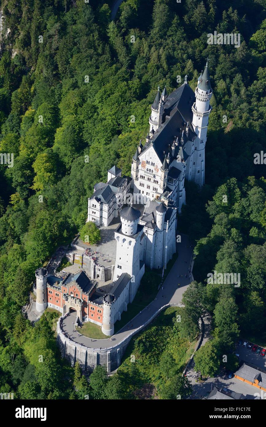 NEUSCHWANSTEIN CASTLE (aerial view). Füssen, Bavaria, Germany. - Stock Image