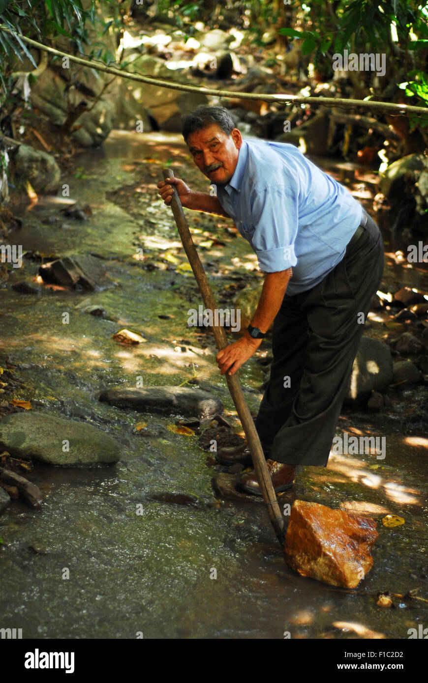 Guatemala, Concepcion las Minas, man protecting water sources for the forestration program (Francisco Salguero 75 Stock Photo