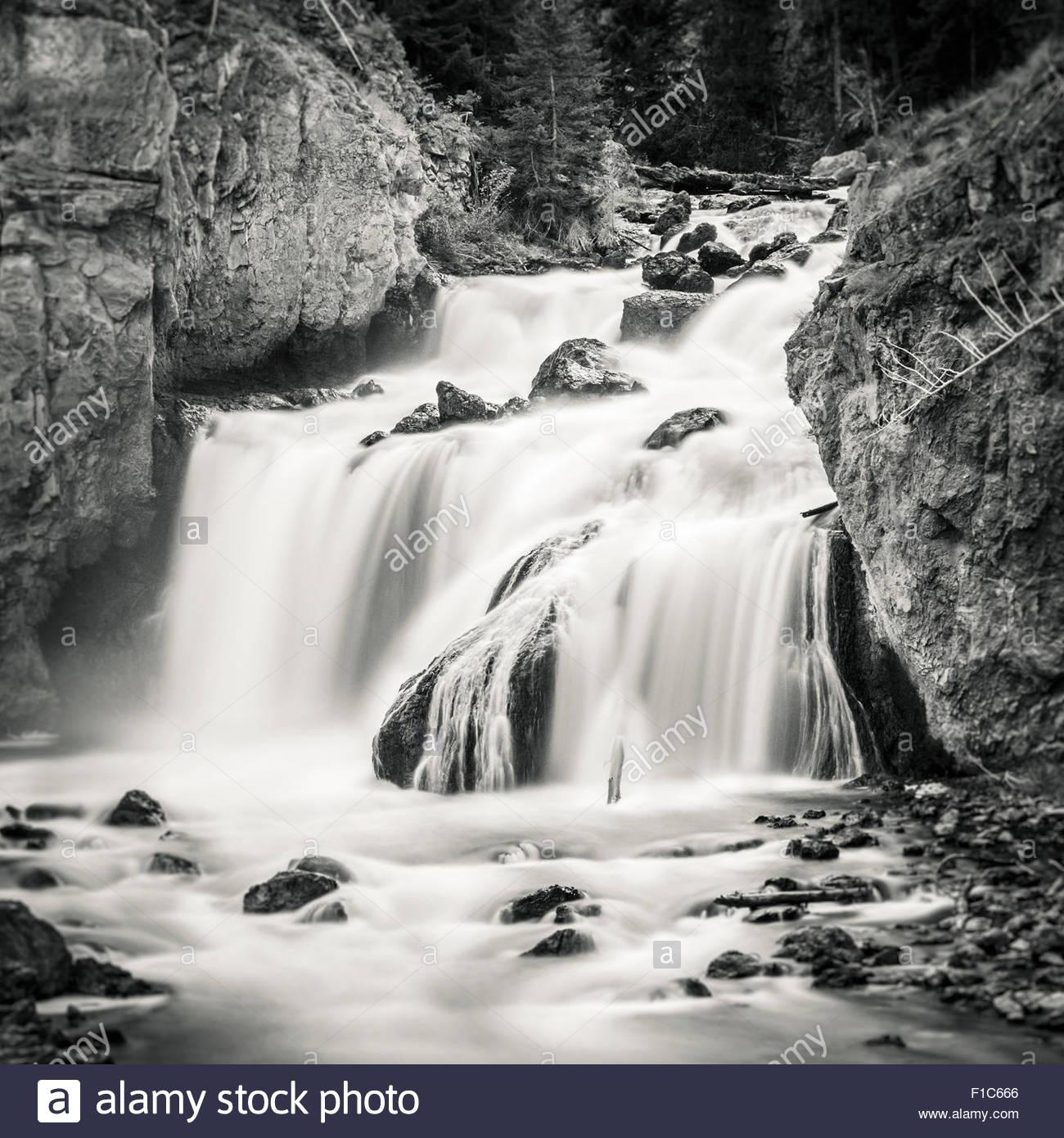 Firehole Falls, Yellowstone National Park, Wyoming, United States - Stock Image