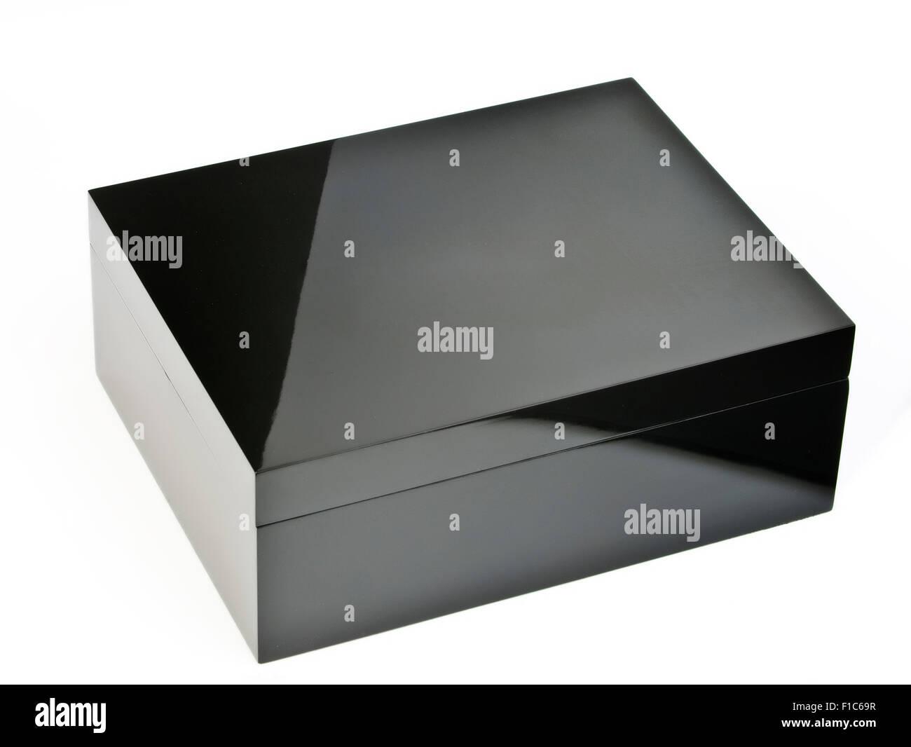 Lacquered Black Box - Stock Image
