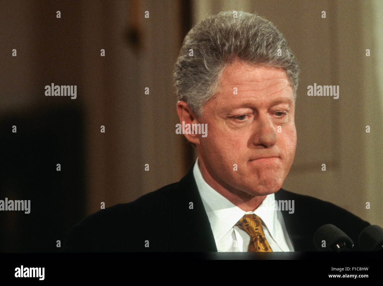 President Clinton during his first solo news conference in almost a year, in the East Room of the White House March - Stock Image