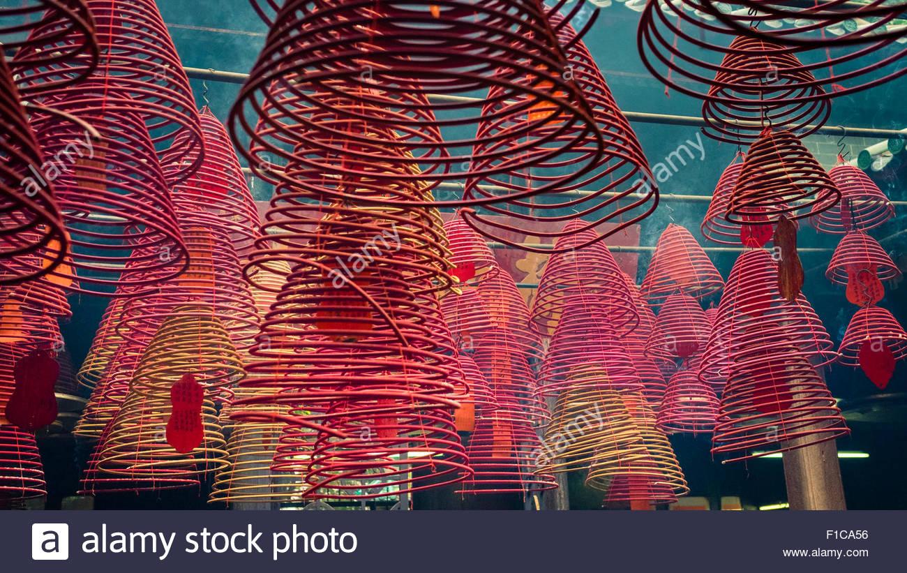 Incense coils at Tin Hau Temple, Yau Ma Tei, Kowloon, Hong Kong, China - Stock Image