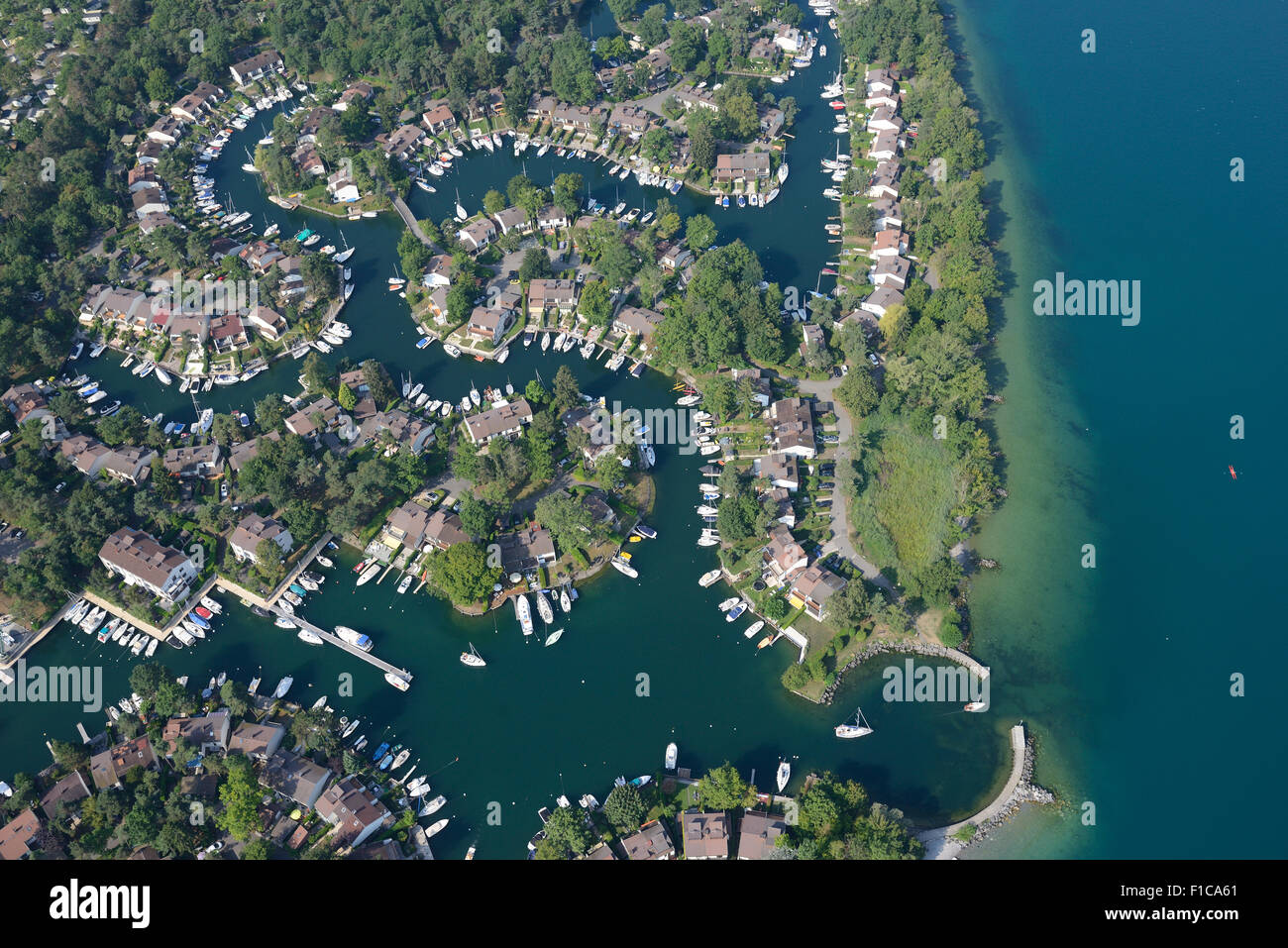 PORT RIPAILLE (aerial view). A marina on the southern shore of Lake Geneva, in the city of Thonon-les-Bains, France. - Stock Image
